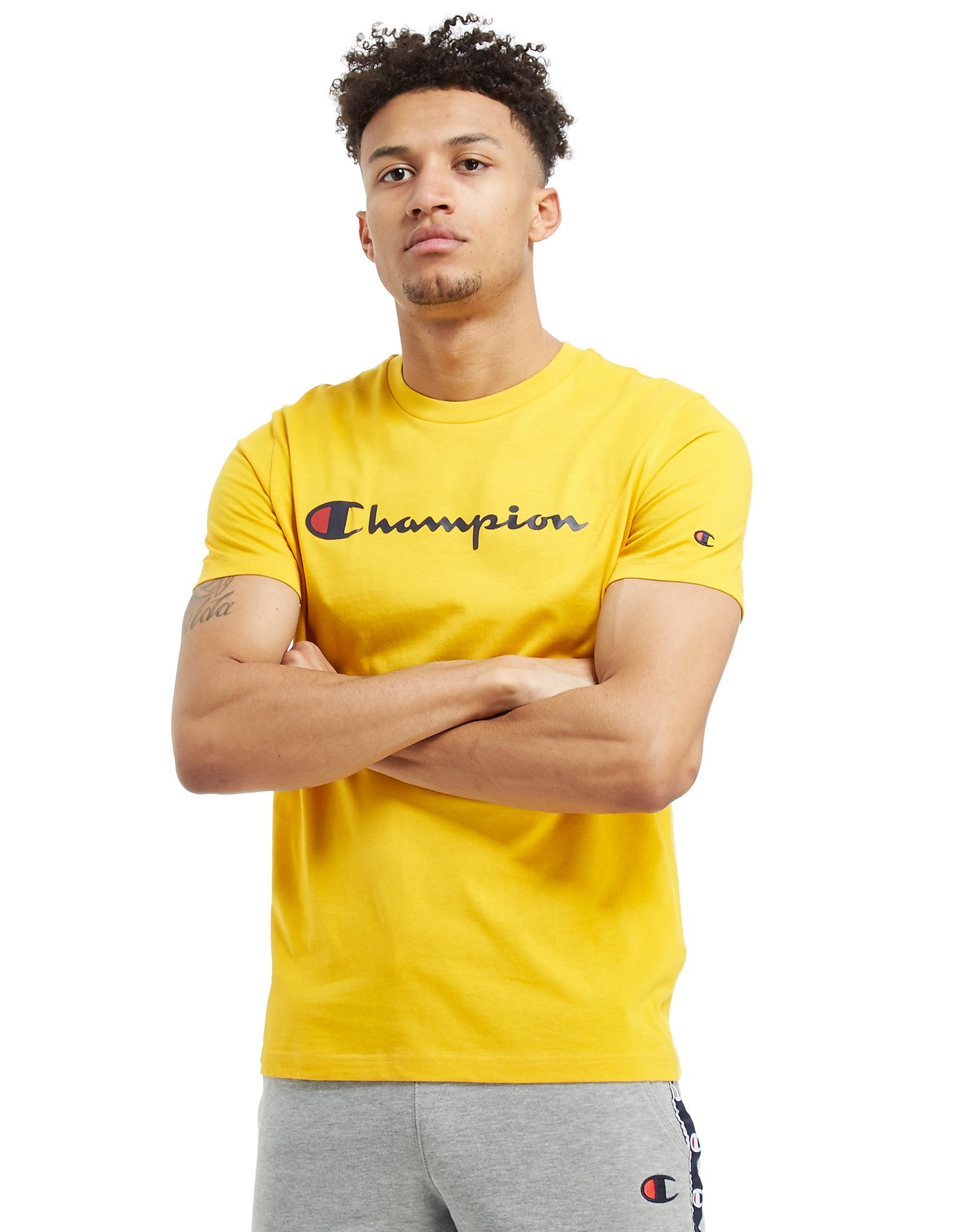 Champion Core Script T-Shirt - Only at JD - Yellow - Mens, Yellow