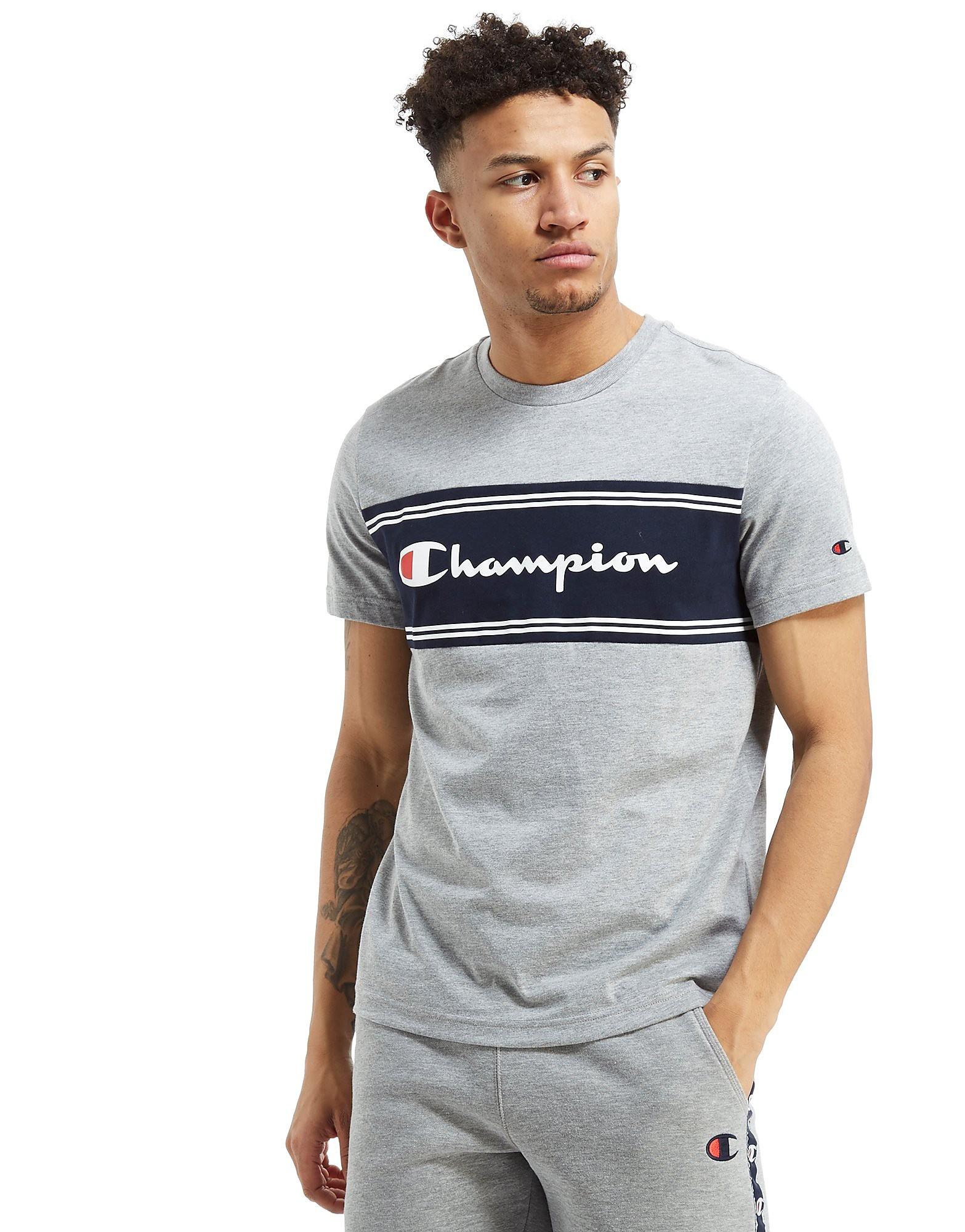 Champion Colourblock T-Shirt - Only at JD - Grey/Navy - Mens, Grey/Navy