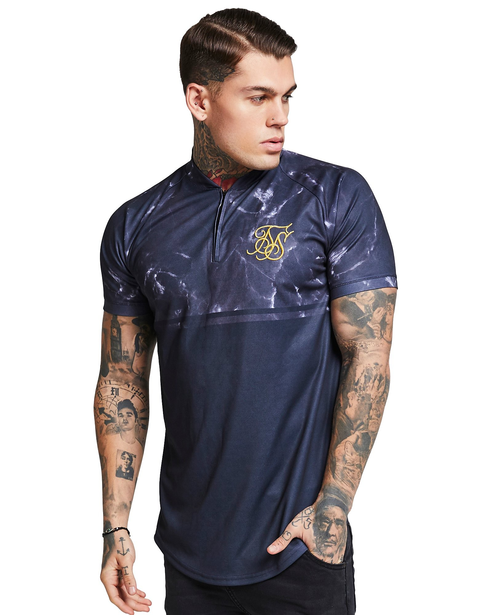 SikSilk Marble Zip Neck T-Shirt - Paars - Heren