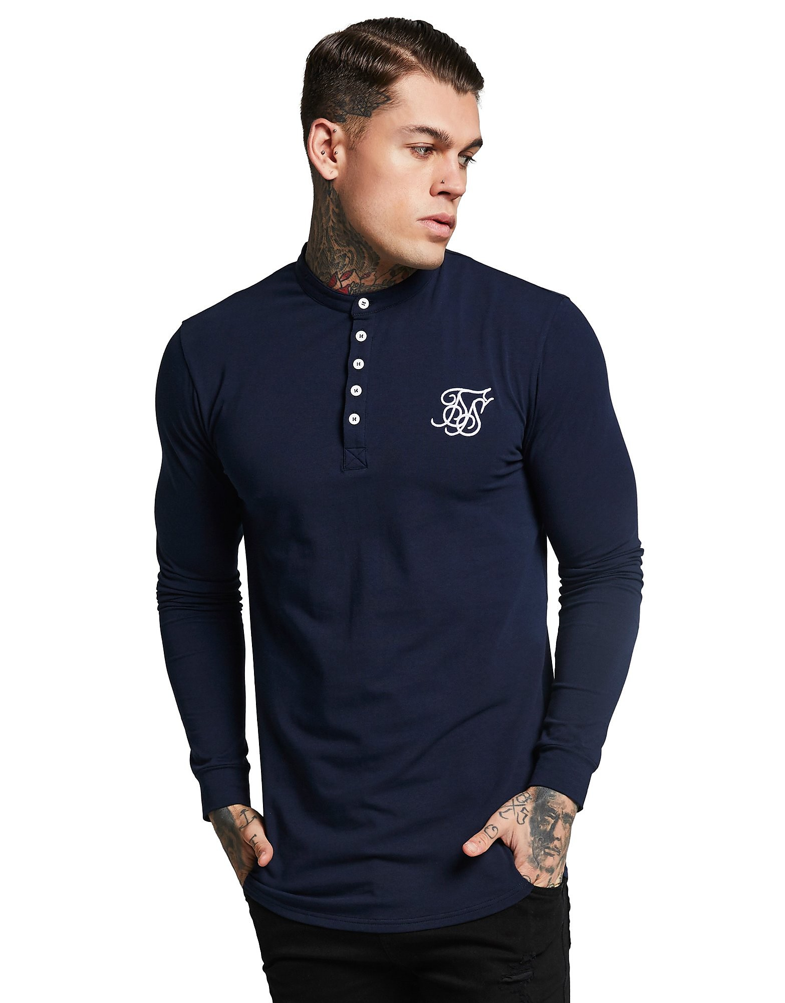 SikSilk Long Sleeve Button Core T-Shirt