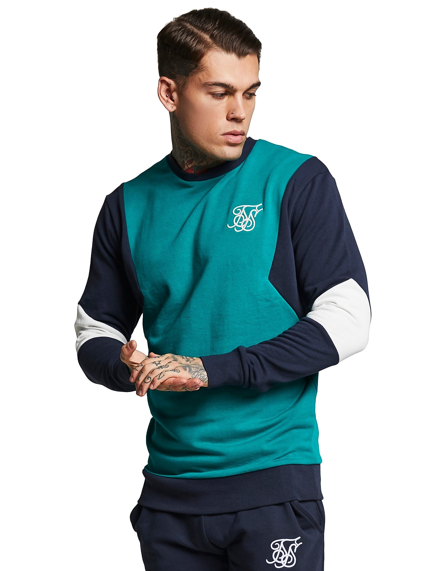 SikSilk Retro Panel Crew Sweatshirt