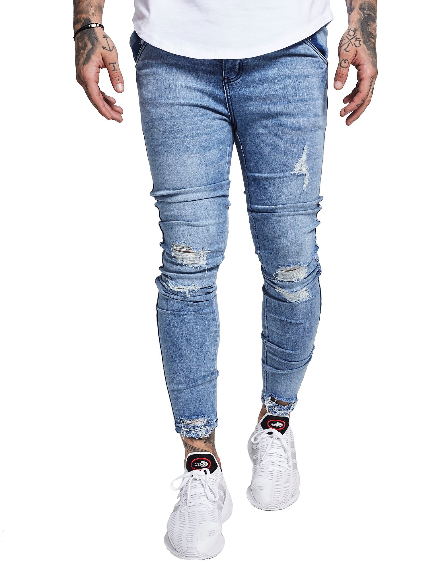 SikSilk Raw Hem Light Wash Denim Jeans