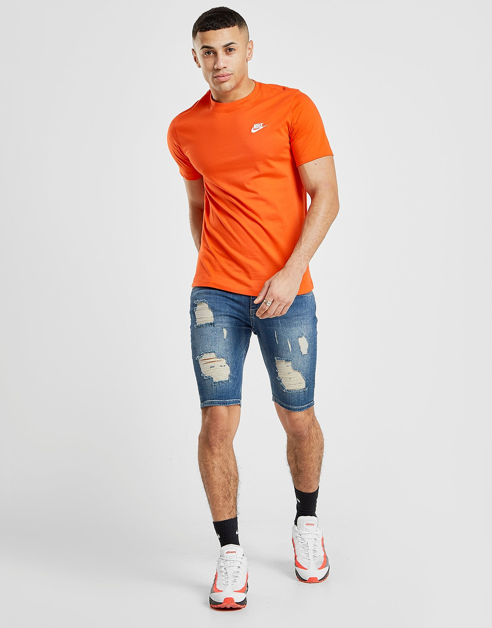 SikSilk Ripped Knee Denim Shorts