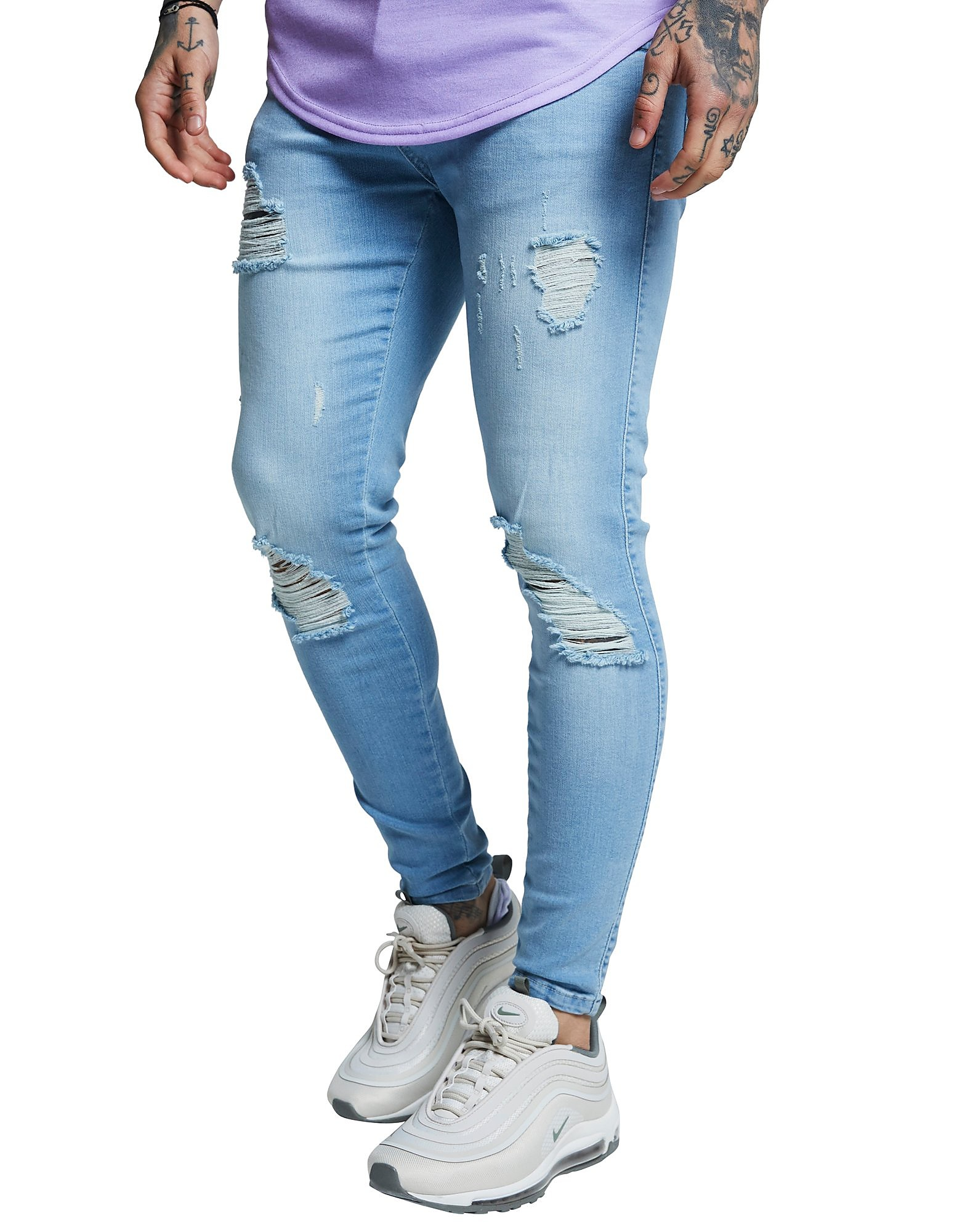 SikSilk Distressed Jeans - Light Blue - Heren
