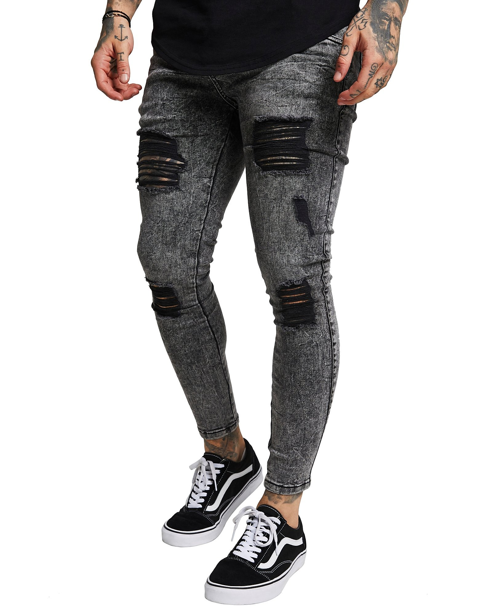 SikSilk Distressed Acid Wash Jeans