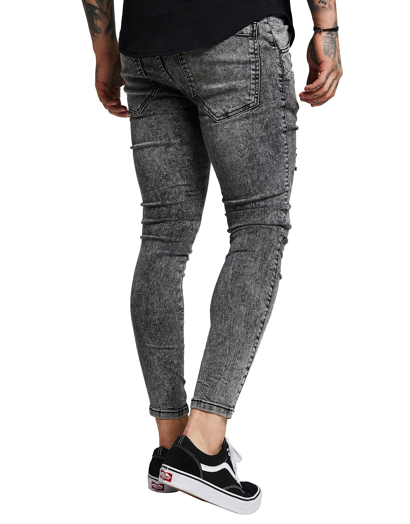 SikSilk Distressed Acid Wash Jeans Homme