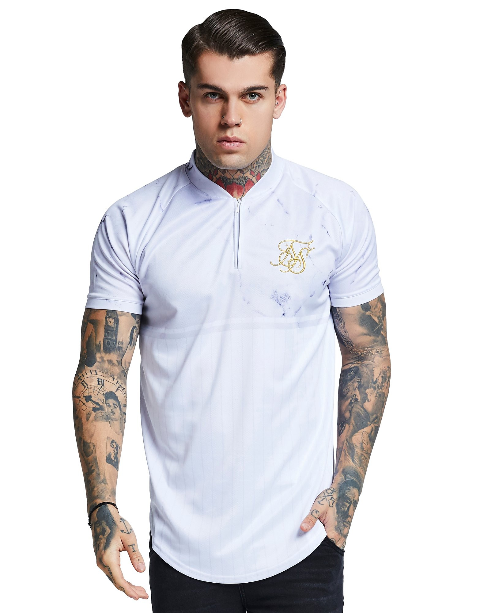 SikSilk Marble Zip Neck Baseball T-Shirt