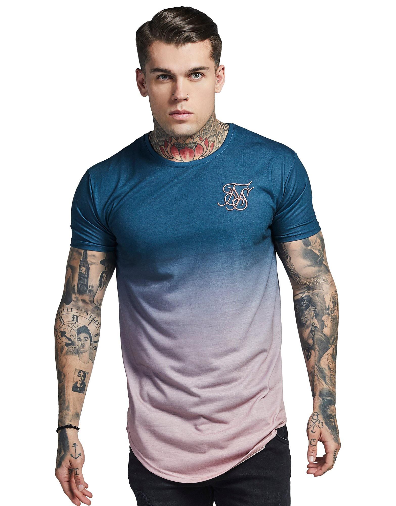 SikSilk Short Sleeve Fade T-Shirt - Blue/Pink, Blue/Pink