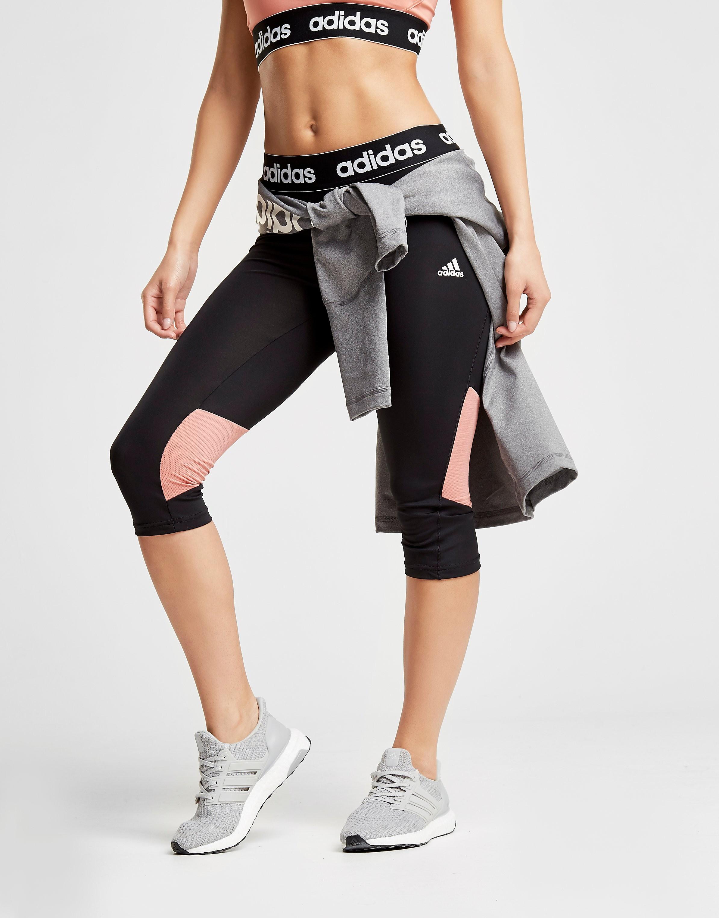 adidas Linear Mesh Capri Leggings Dames - Zwart - Dames