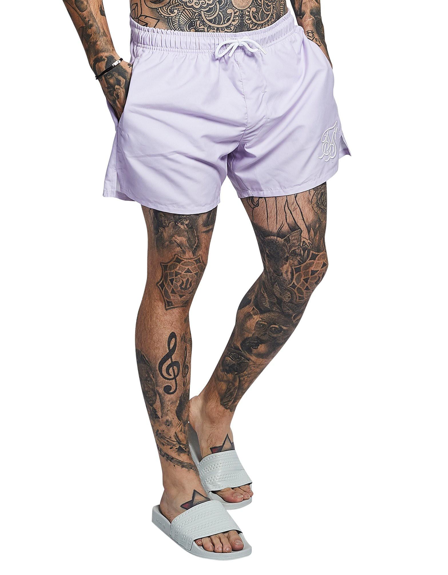 SikSilk Swim Shorts Heren - Lilac/White - Heren