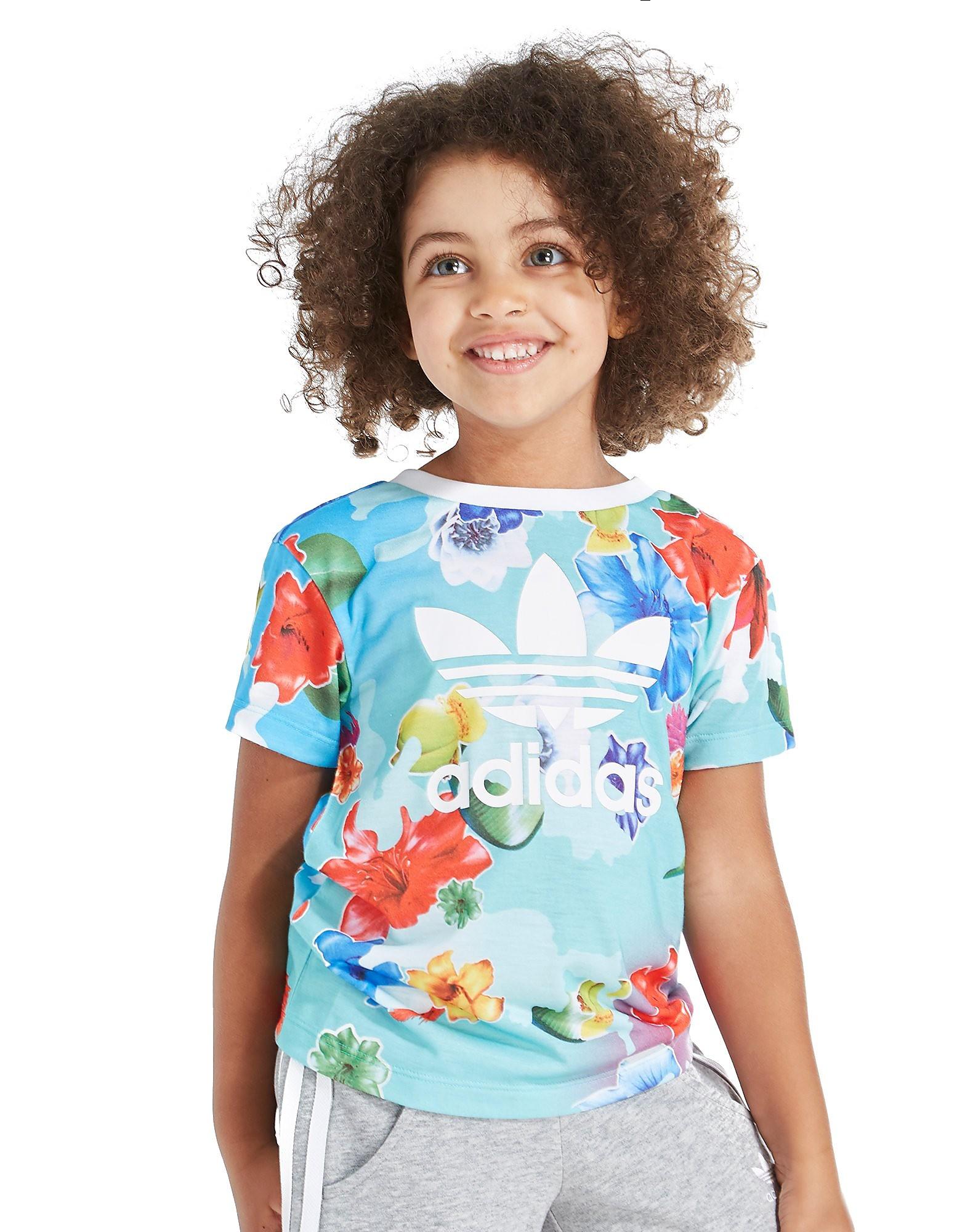 adidas Originals Girls' All Over Print T-Shirt & Short Set Kinderen - alleen bij JD - Floral/Blue - Kind