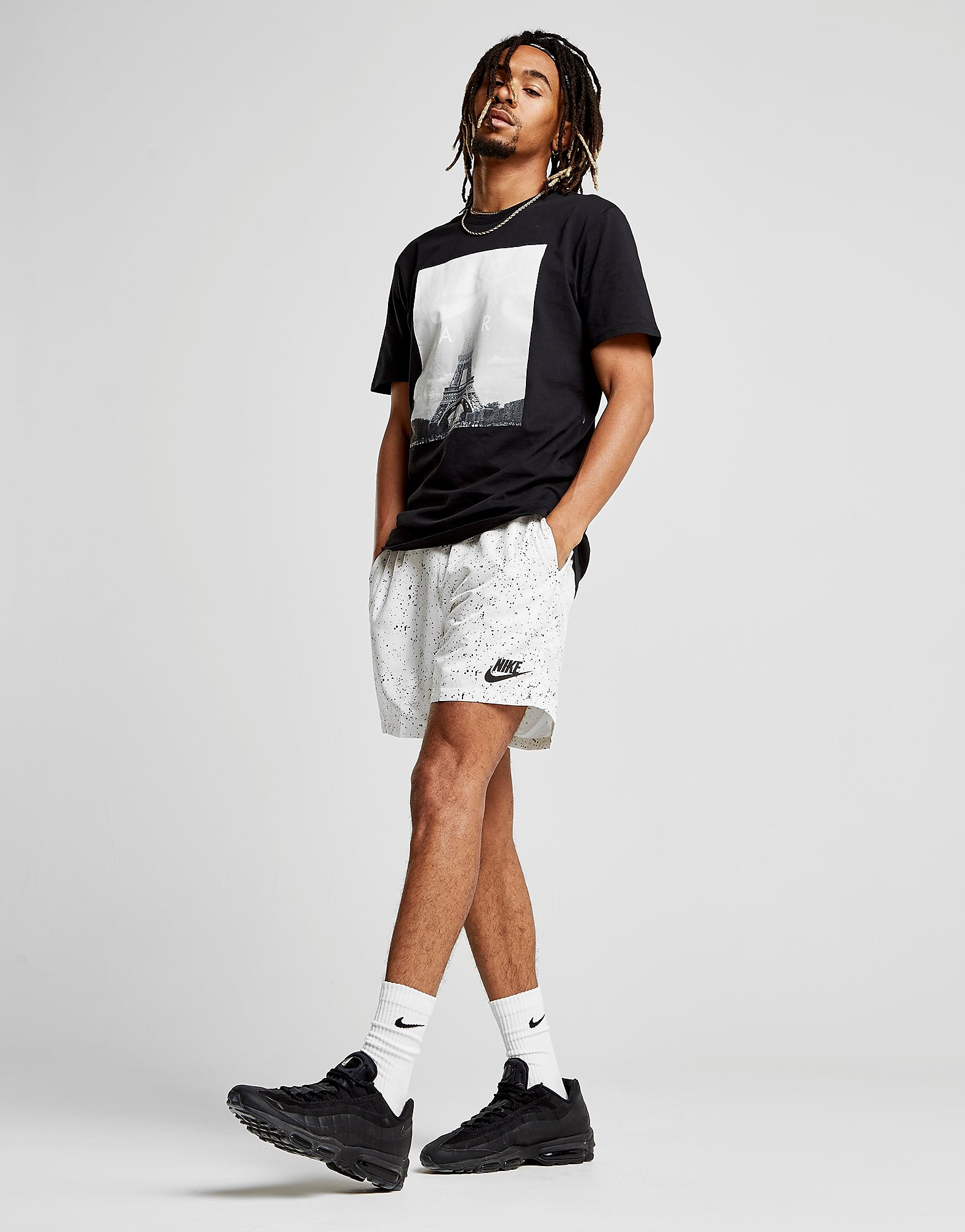Nike Flow All Over Print Shorts - Weiss - Mens, Weiss