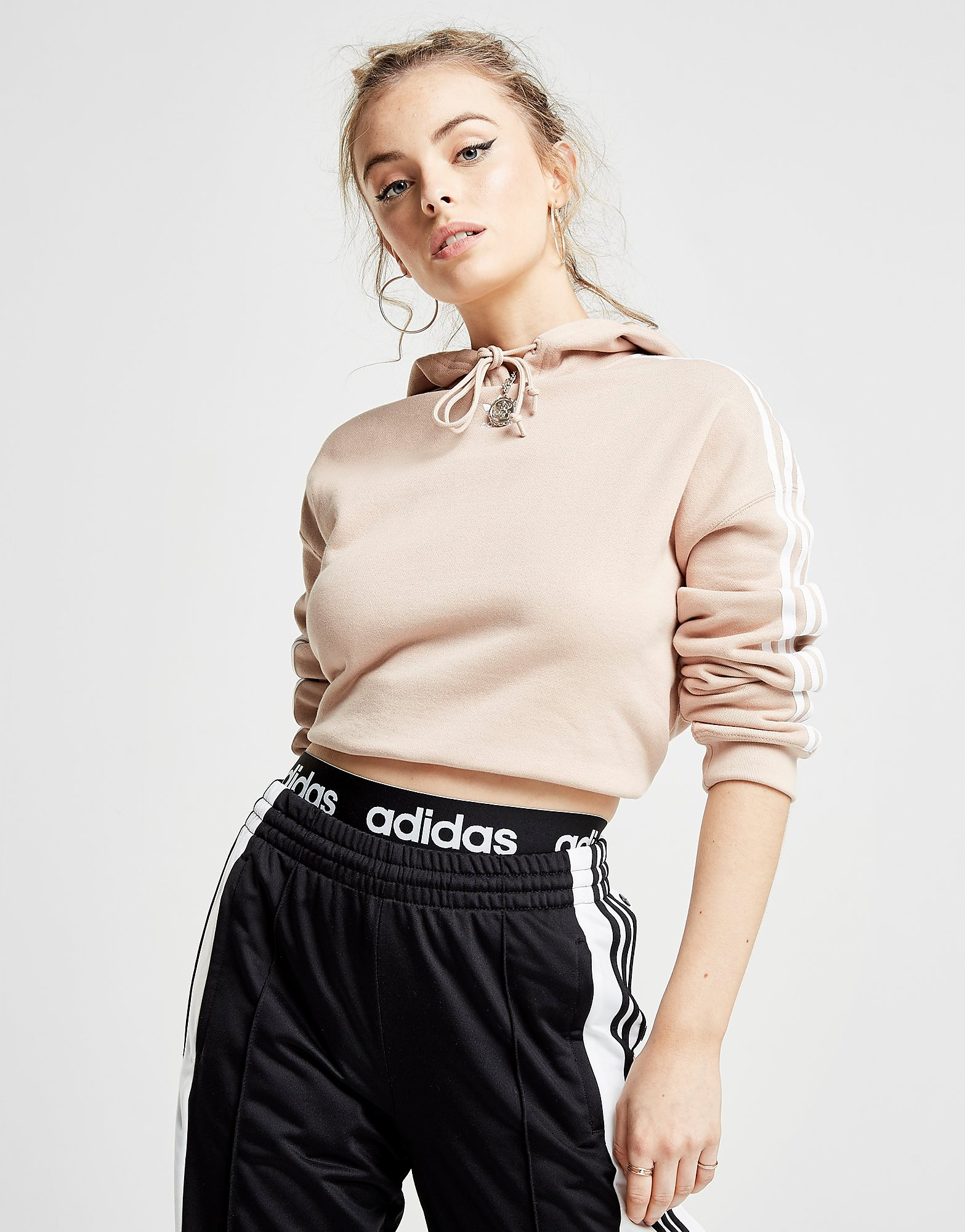 adidas Originals 3-Stripes Crop Overhead Hoodie Dames - Roze - Dames