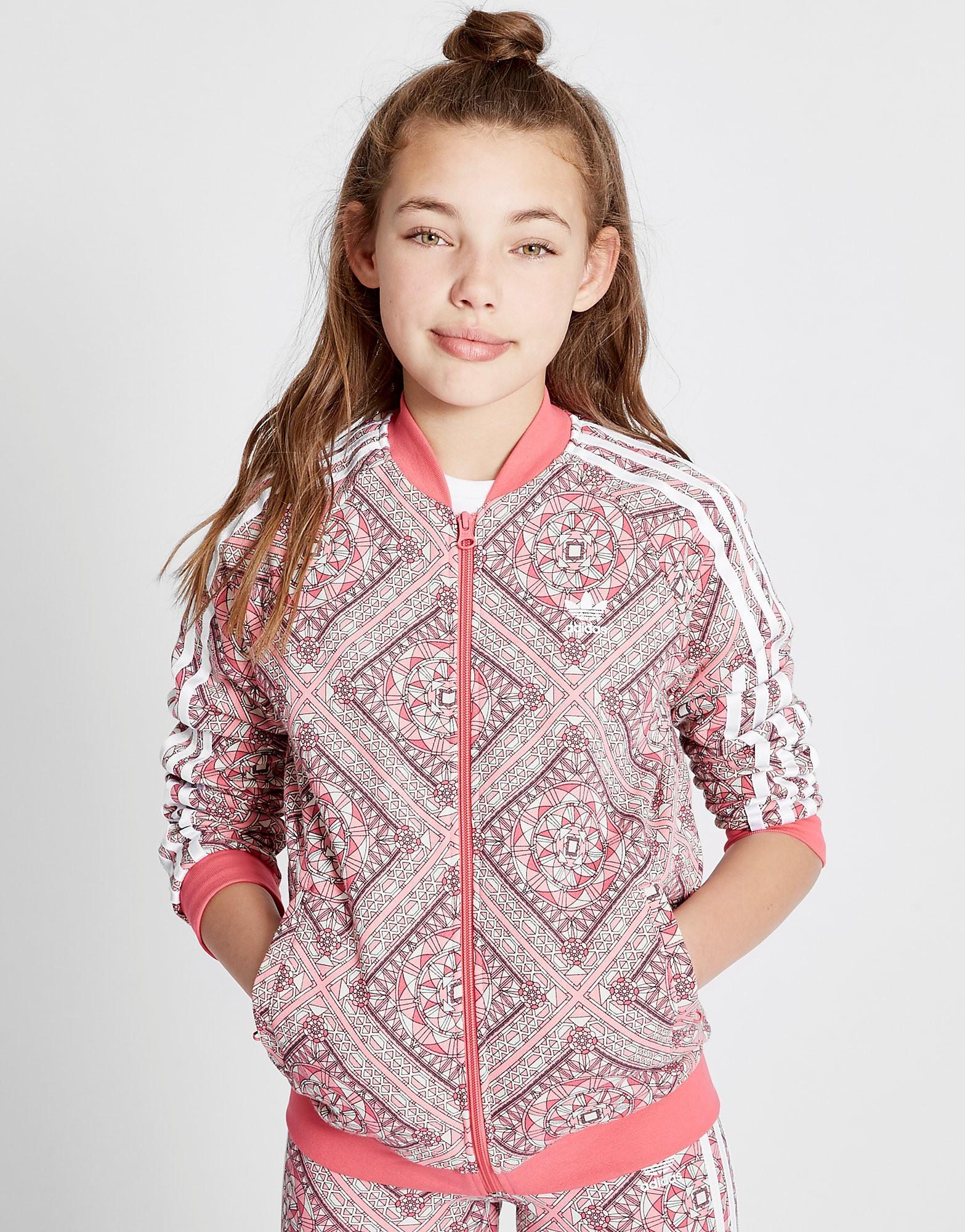 adidas Originals Girls' Geo All Over Print Track Top Junior - Pink - Kids, Pink