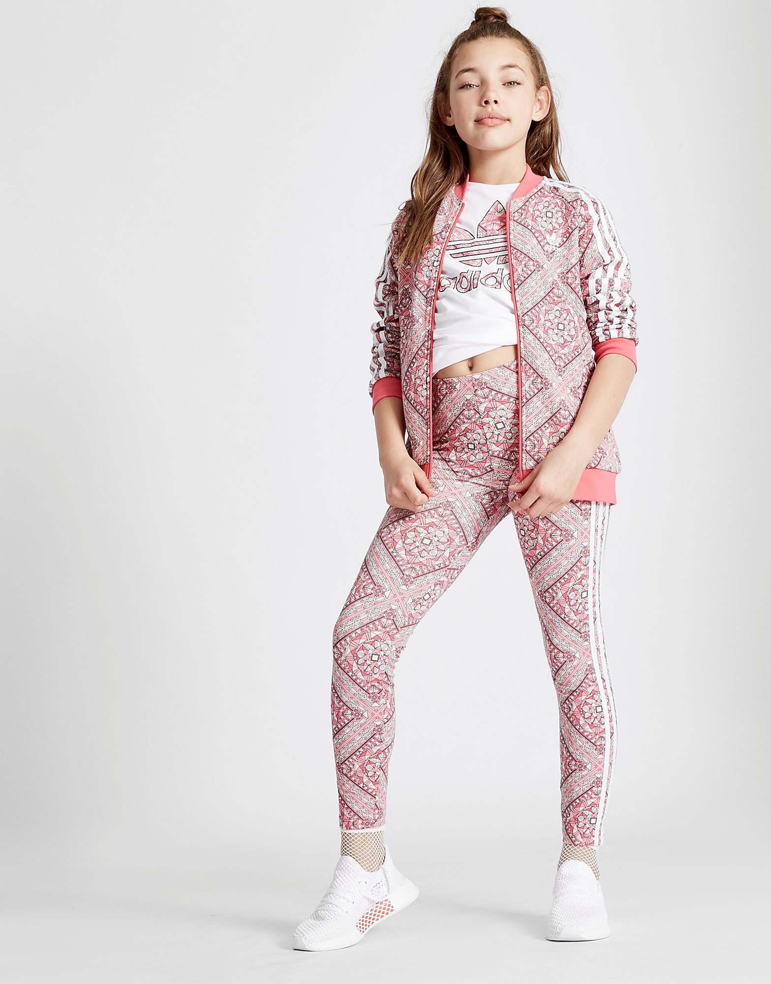 adidas Originals Girls' Geo All Over Print Track Top Junior
