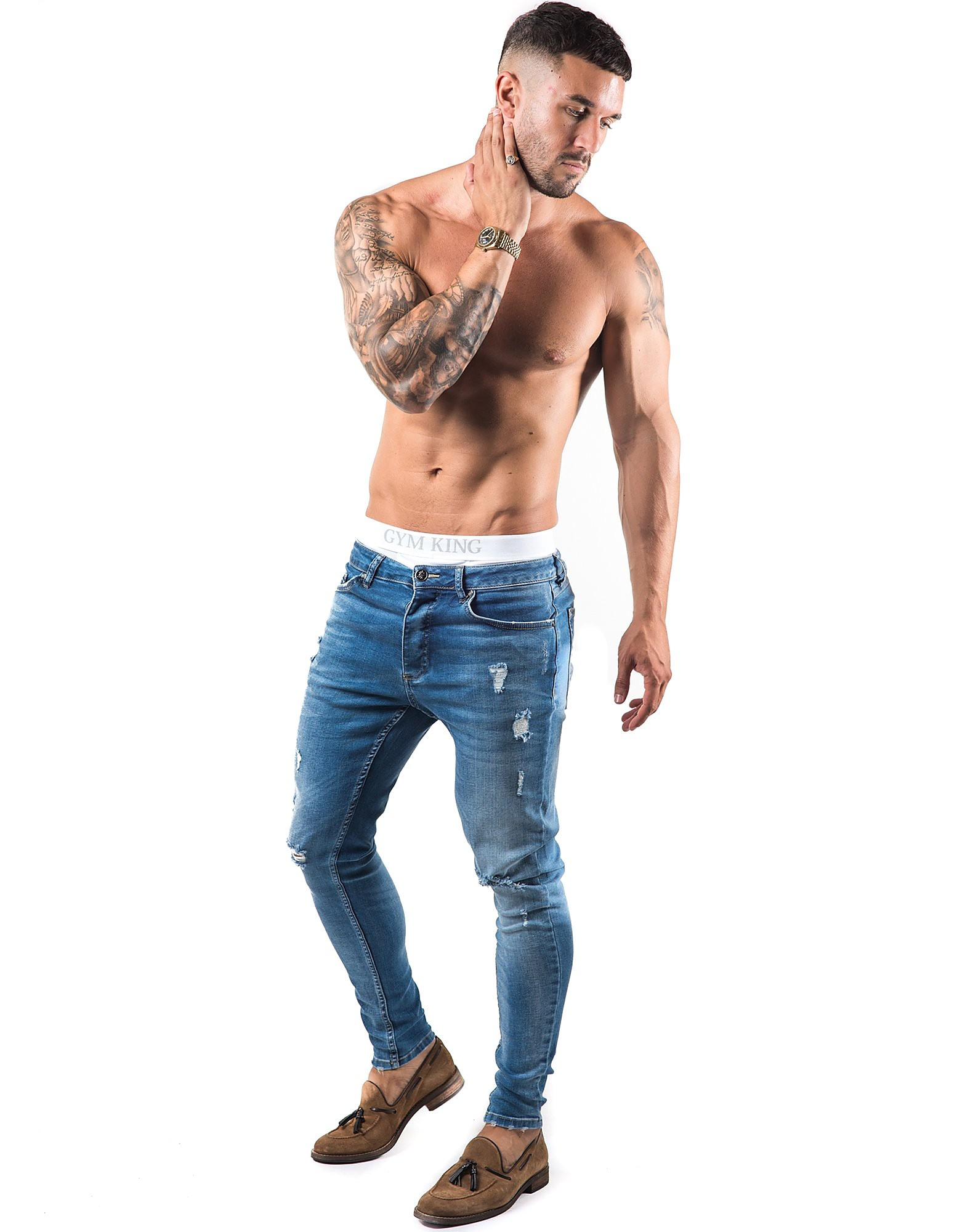 Gym King Distressed Denim Jeans Homme