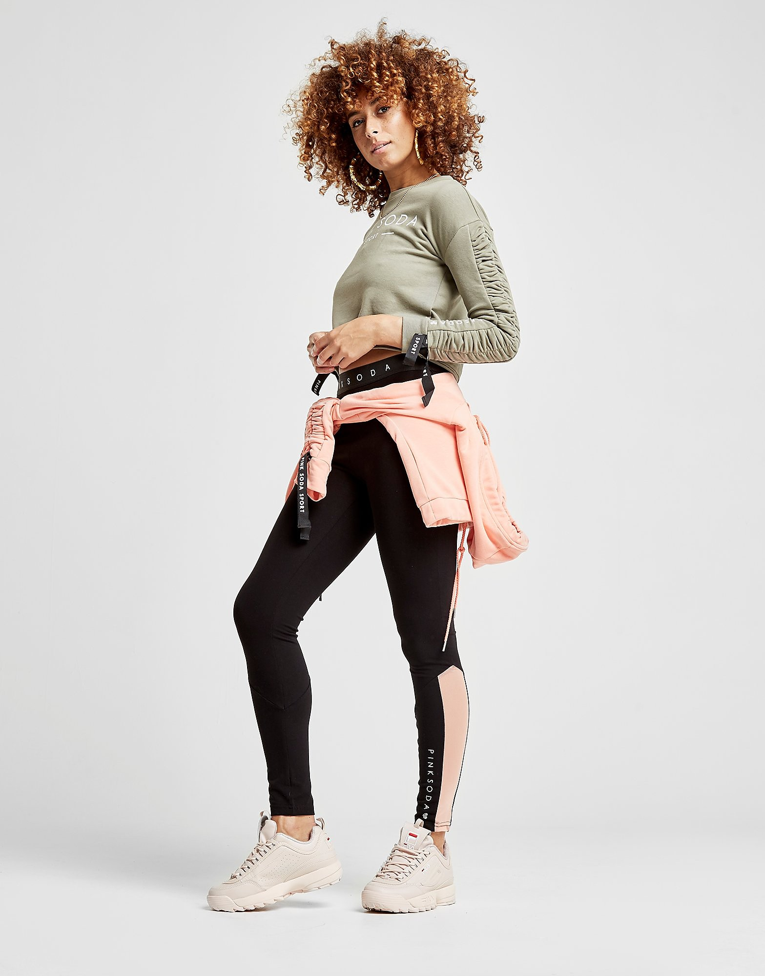 Pink Soda Sport Gather Sleeve Crop Crew Sweatshirt