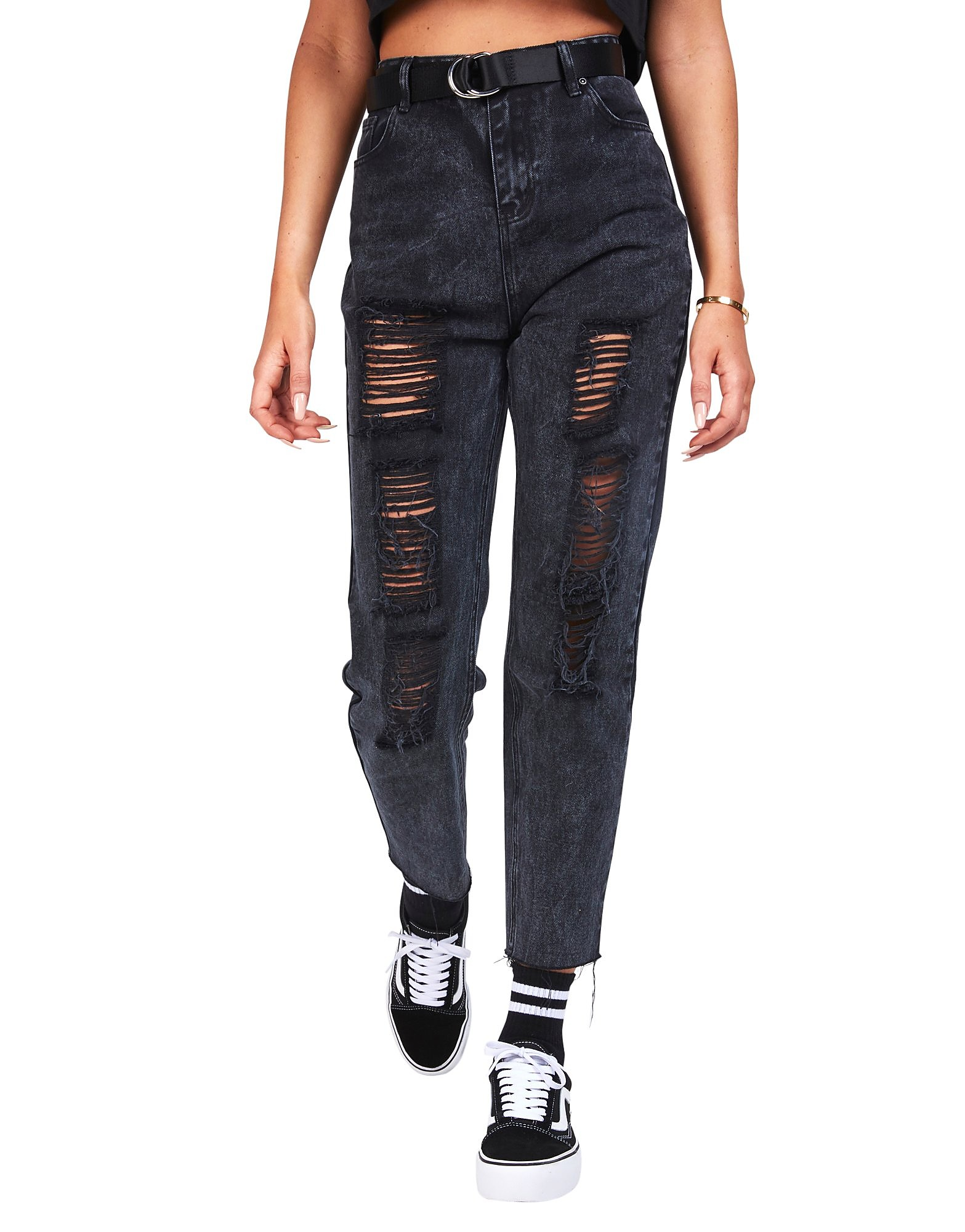 SikSilk Rip Mom Jeans