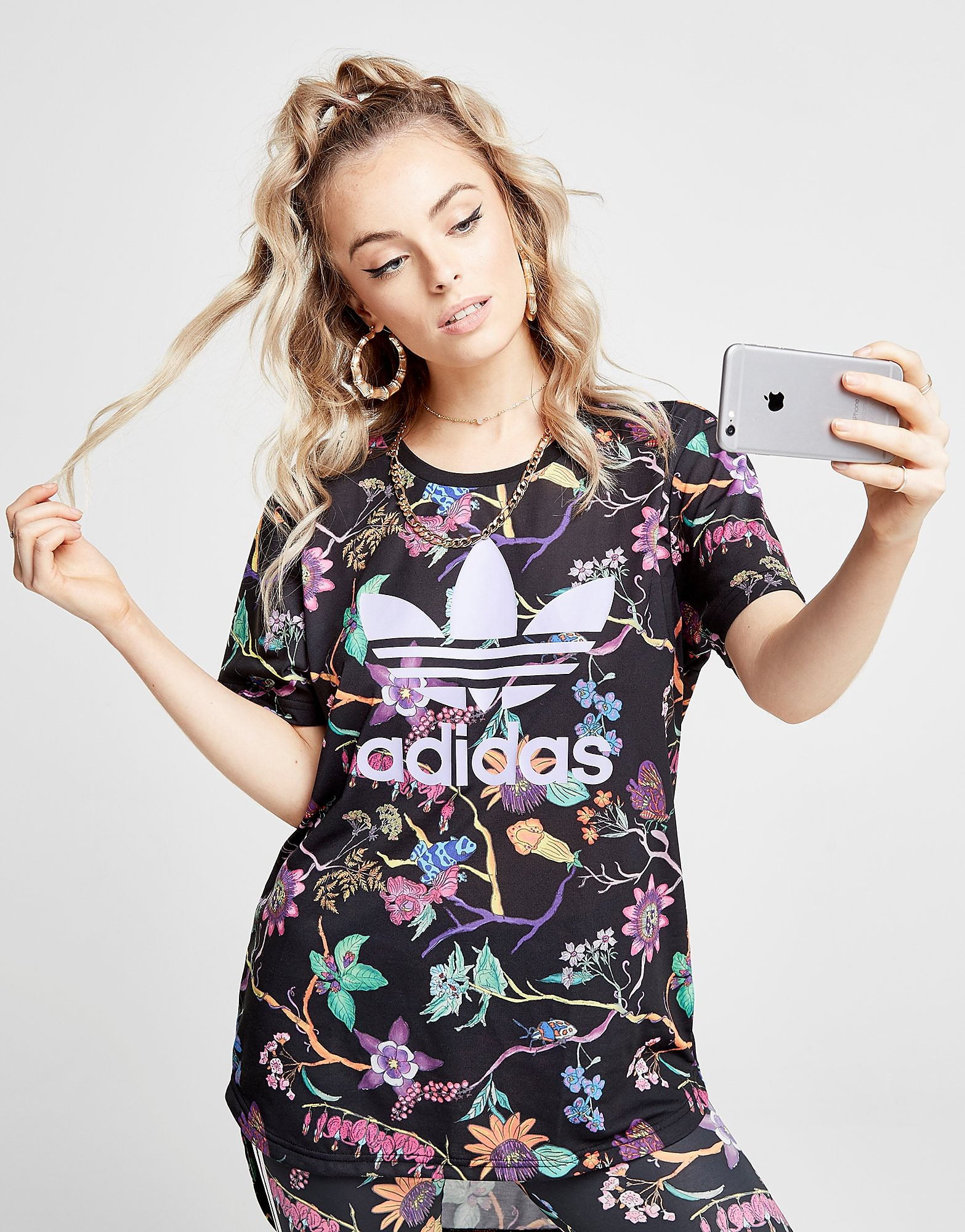 adidas Originals Longline Trefoil All Over Print T-Shirt