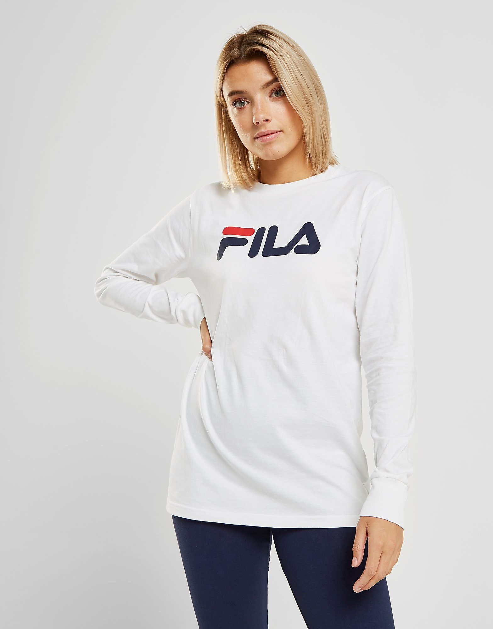Fila Long Sleeve Boyfriend T-Shirt Dames - alleen bij JD - Wit - Dames