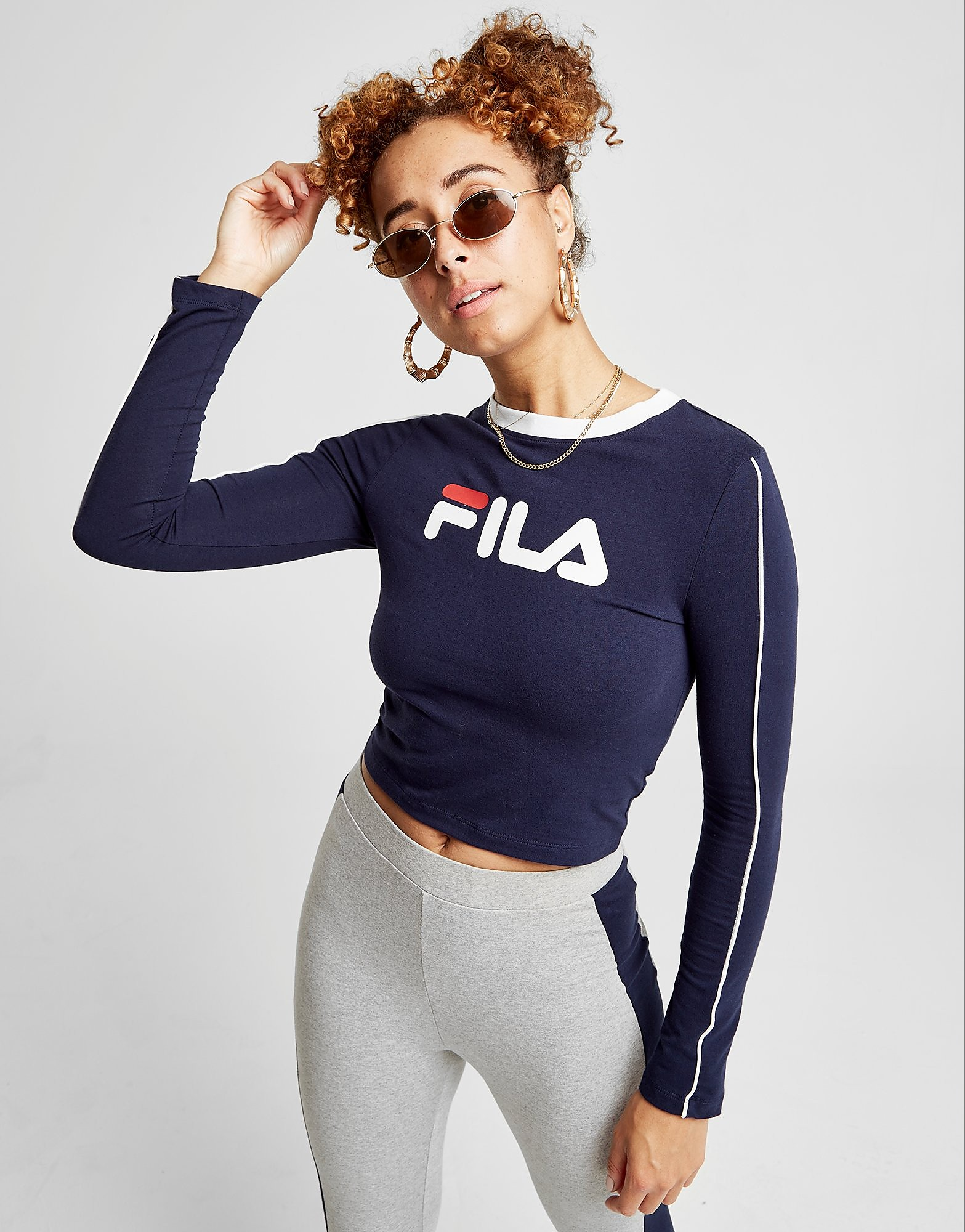 Fila Piping Long Sleeve Crop T-Shirt