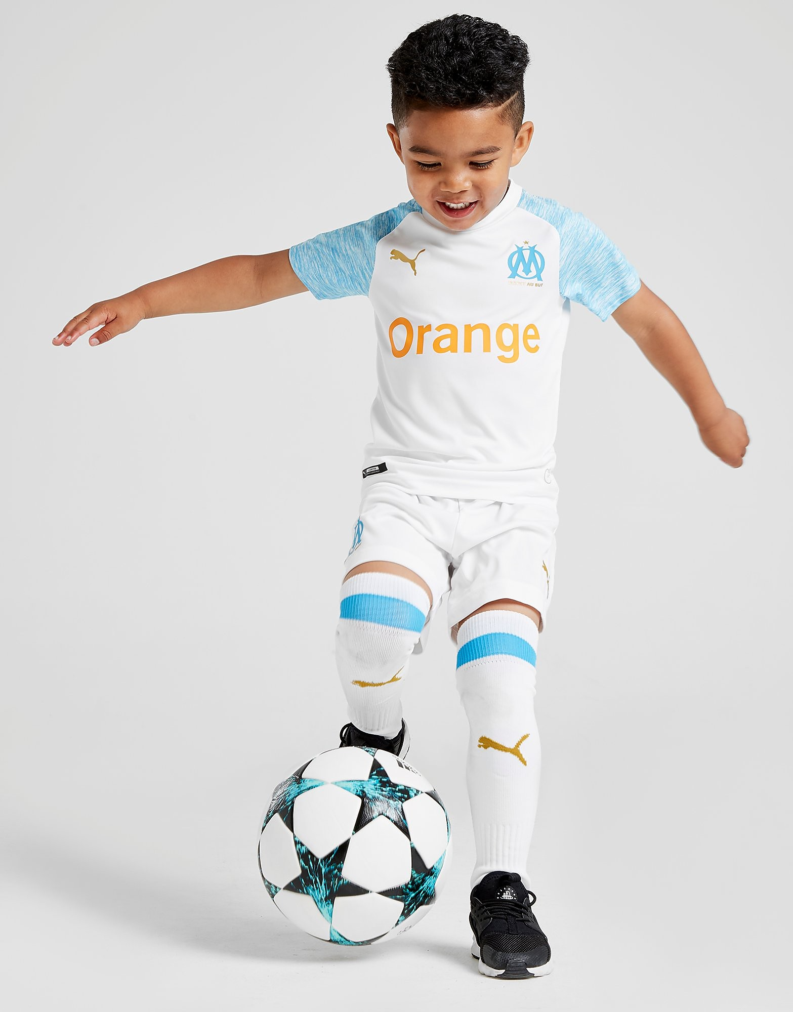 PUMA Olympique Marseille 2018/19 Home Kit Kinderen - Wit - Kind