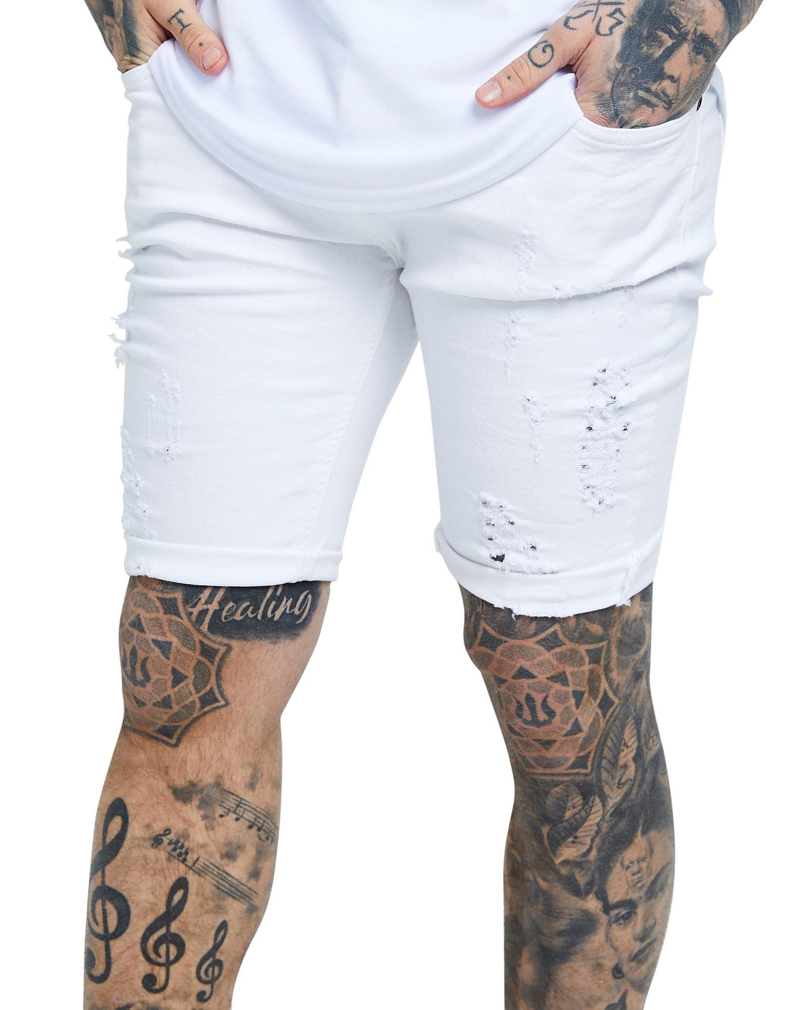 SikSilk Rip Denim Shorts - Wit - Heren