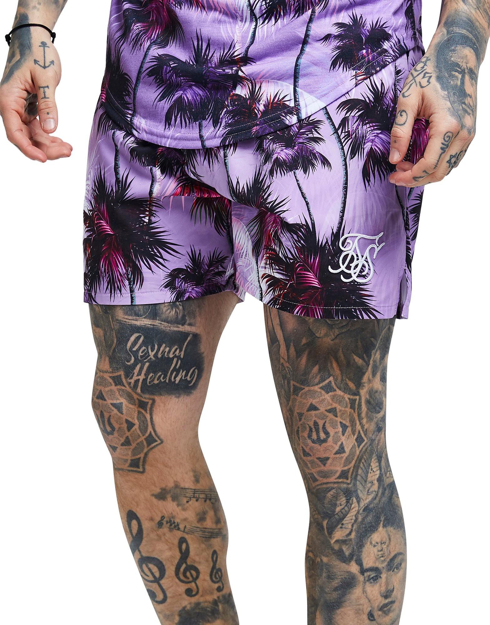 SikSilk Palm Print Shorts - Paars - Heren