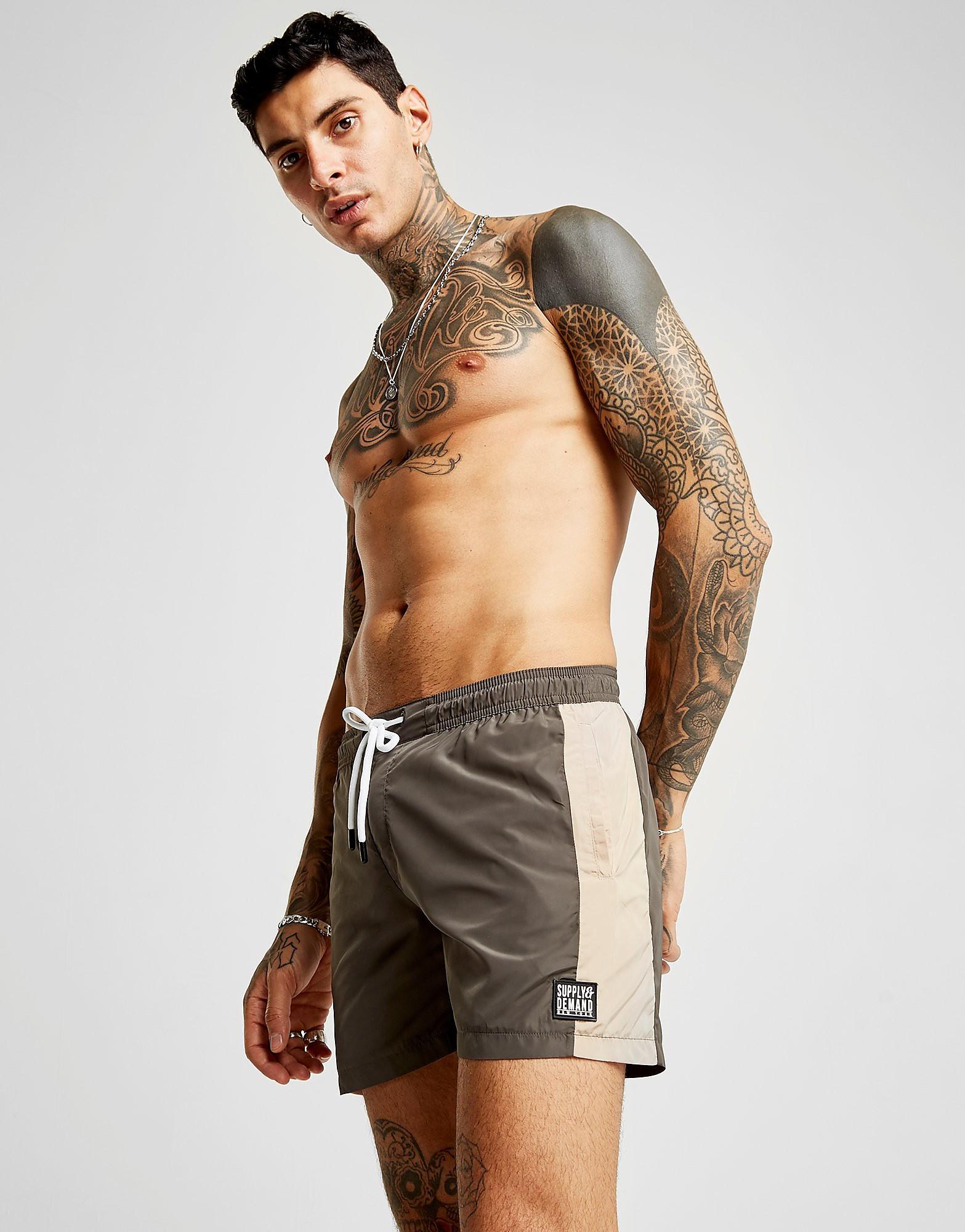 Supply & Demand Workout Swim Shorts Heren - Khaki/Brown - Heren