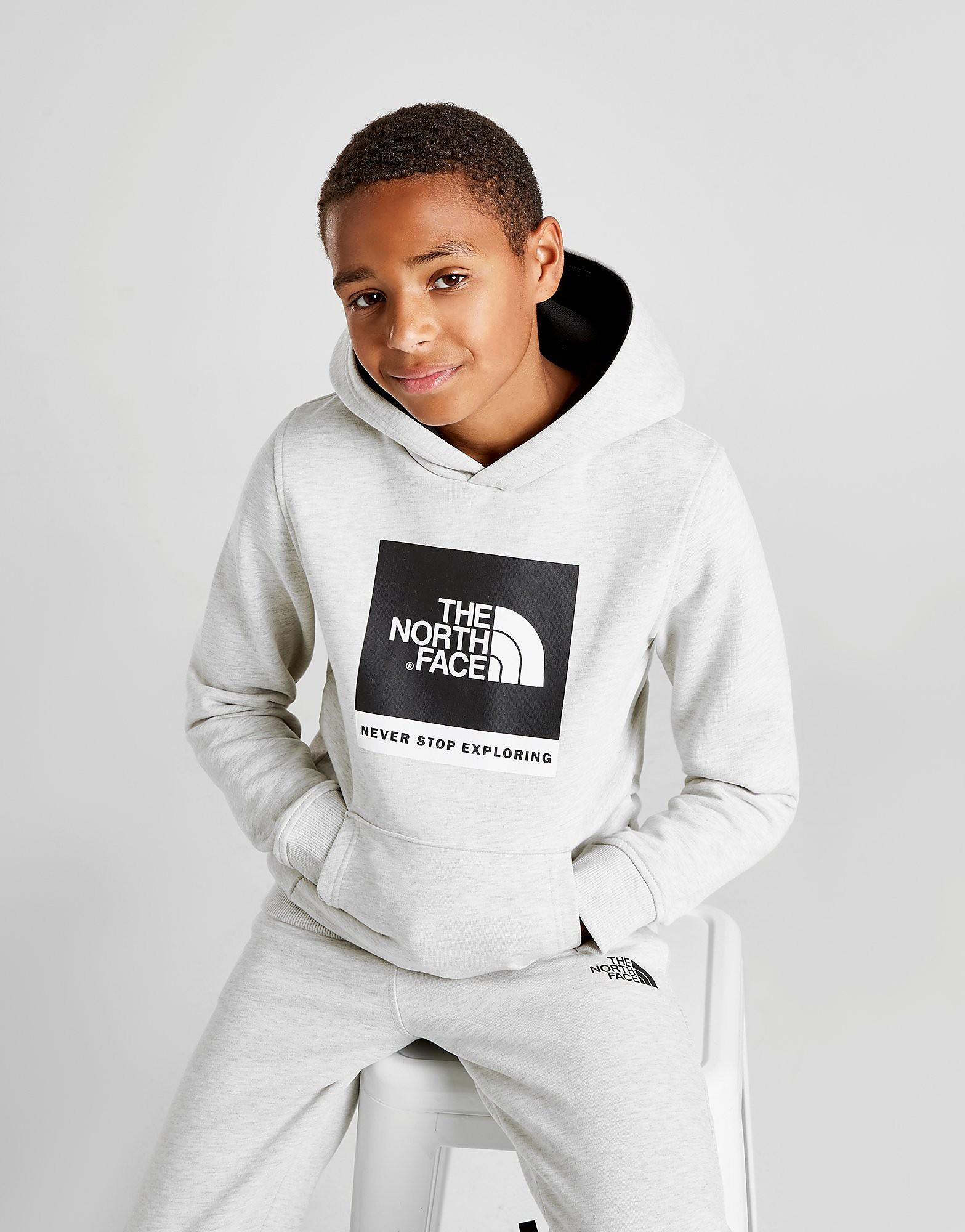 The North Face Box Logo Overhead Hoodie Junior - alleen bij JD - Wit - Kind
