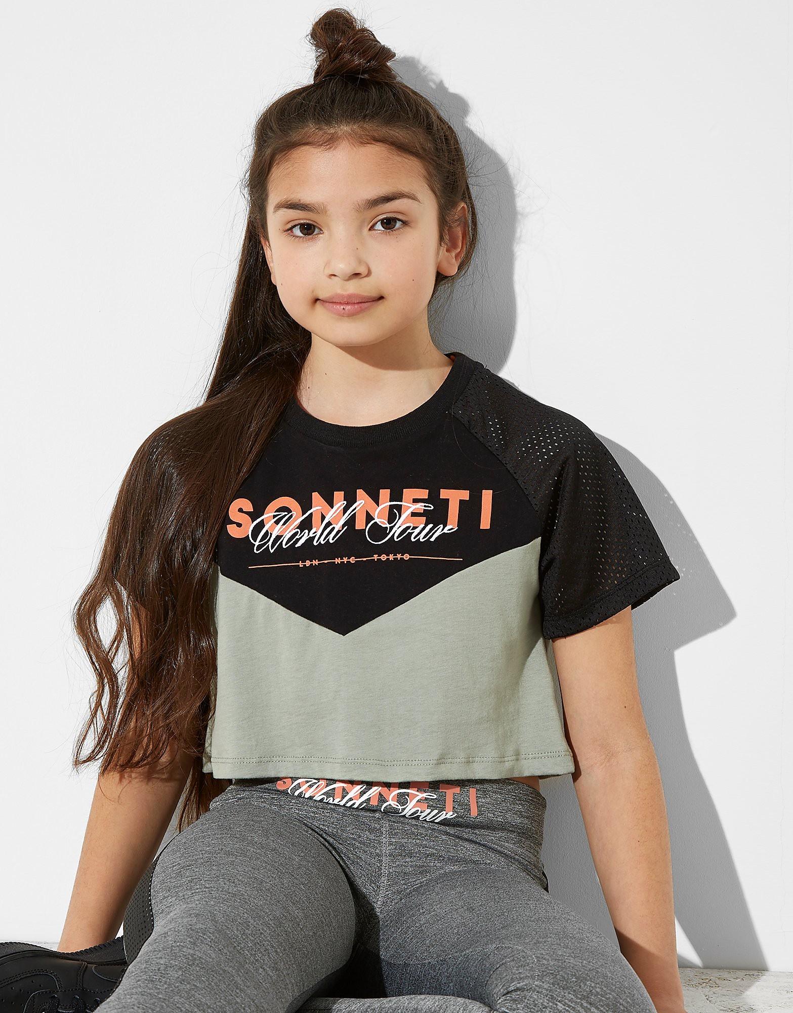 Sonneti Girls' Circuit Panel Crop T-Shirt Junior