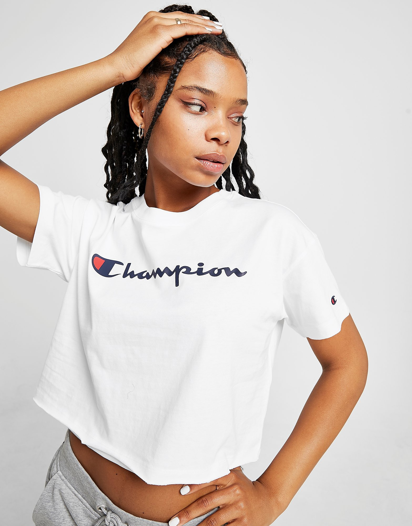 Champion Crop Script T-Shirt Dames - alleen bij JD - Wit - Dames