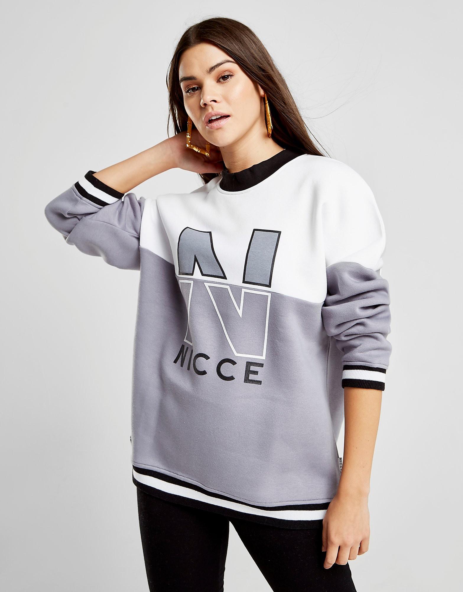 Nicce Colour Block Rib Crew Sweatshirt