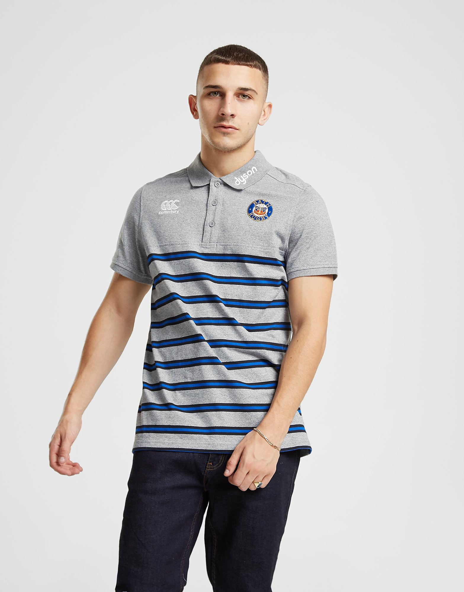 Canterbury Bath Rugby Stripe Polo Shirt Heren - Grijs - Heren