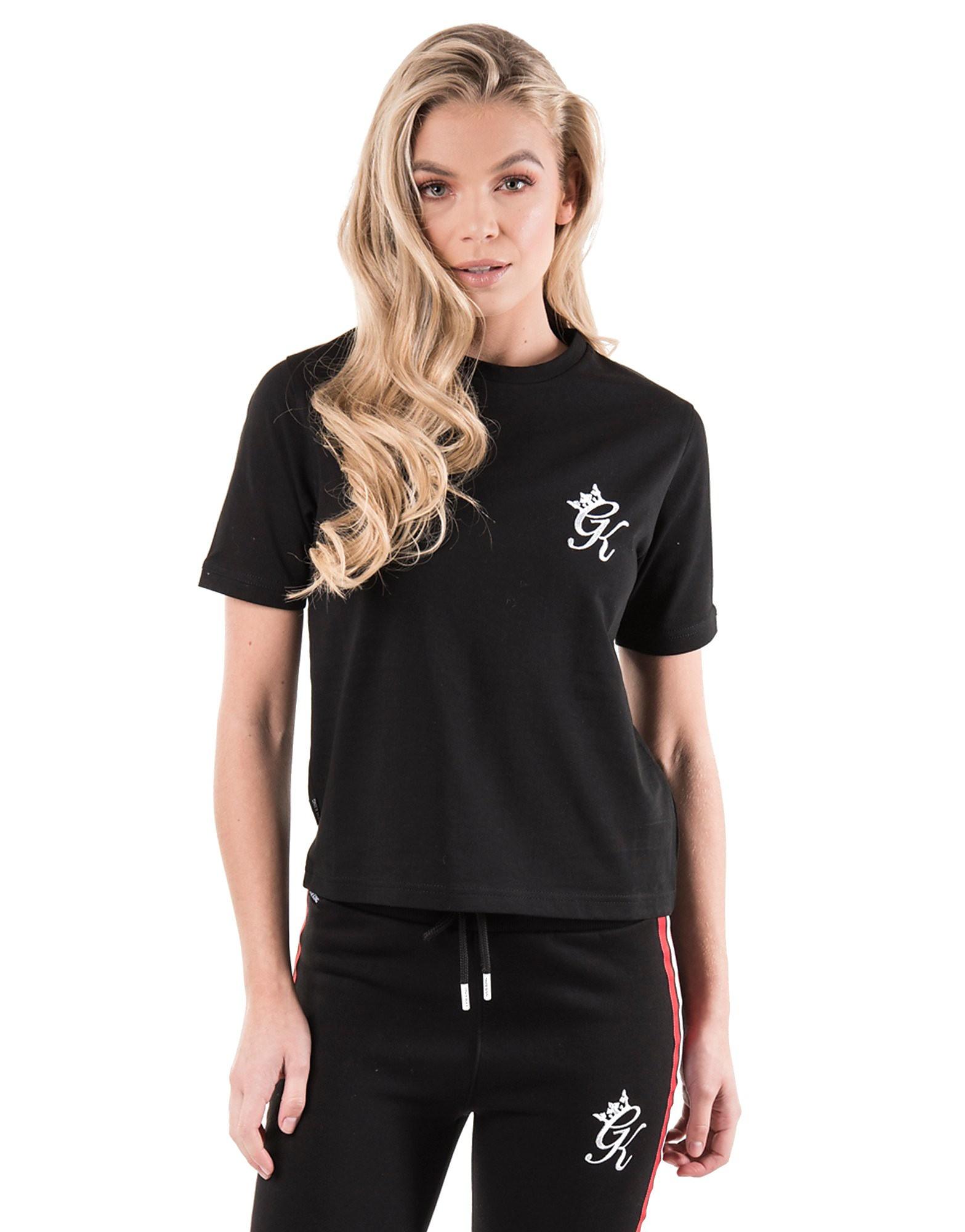 Gym King Logo Crop T-Shirt Dames - Zwart - Dames