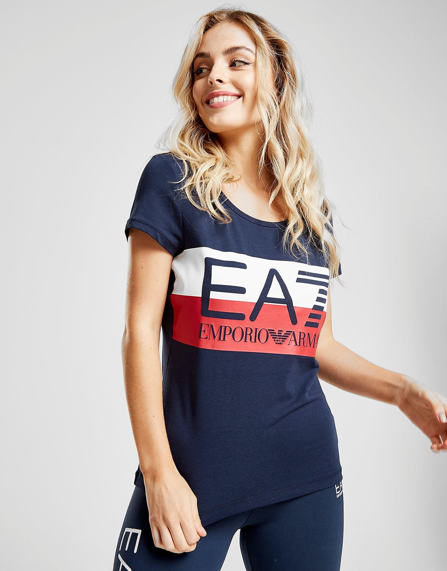 Emporio Armani EA7 Logo Stripe T-Shirt Dames - Blauw - Dames