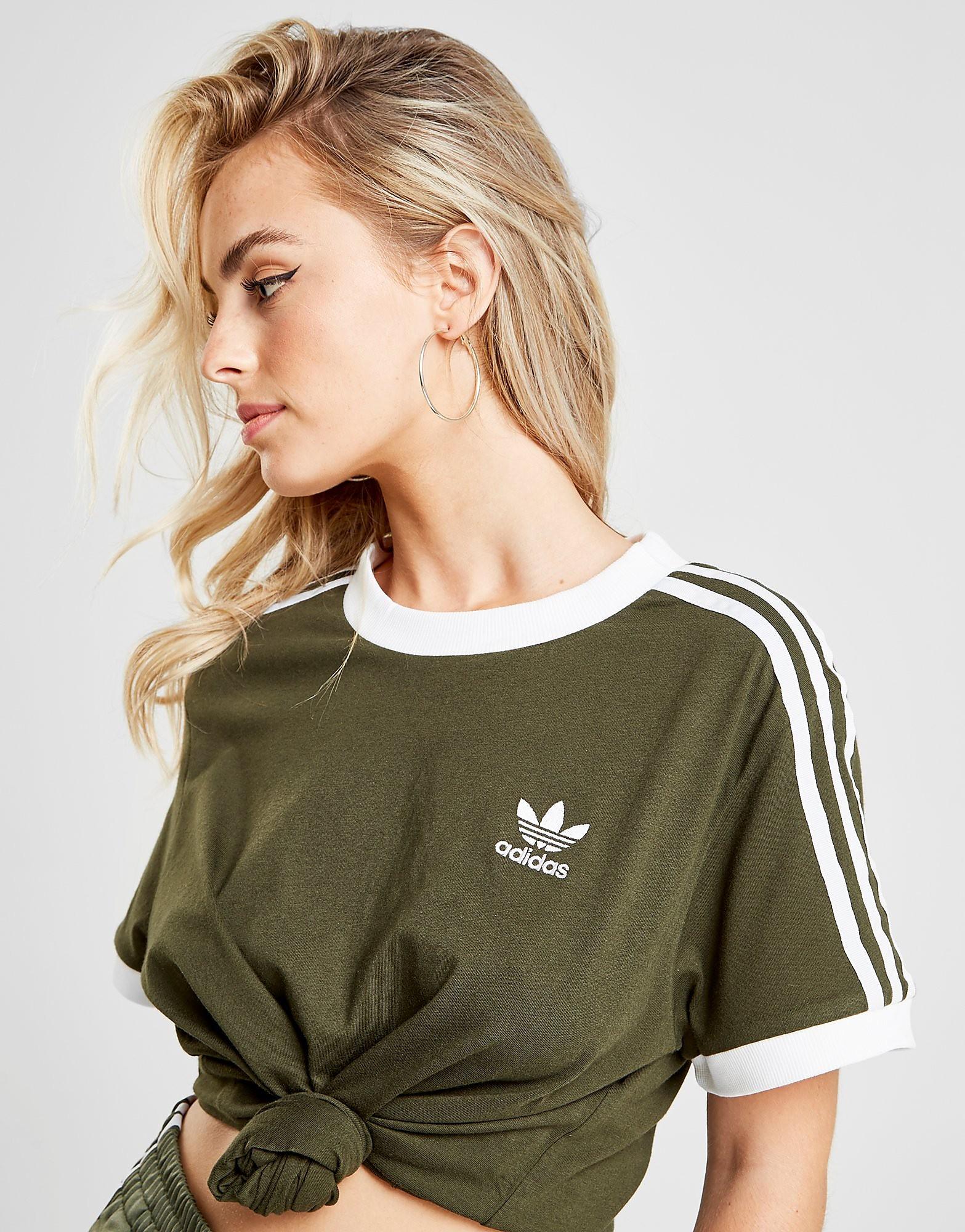 adidas Originals 3-Stripes California T-Shirt Dames - alleen bij JD - Groen - Dames