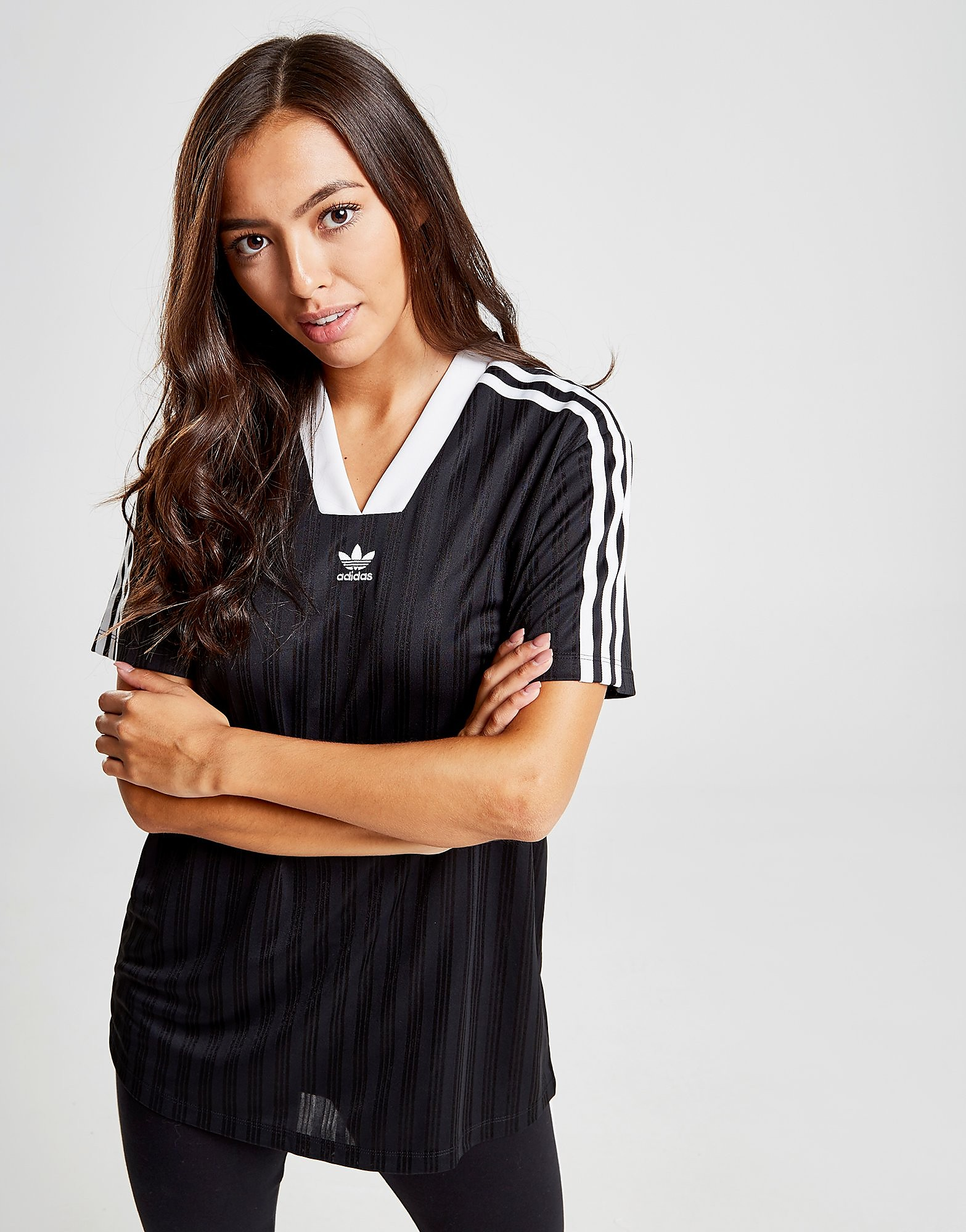 adidas Originals Stripe Football T-Shirt Dames - Zwart - Dames