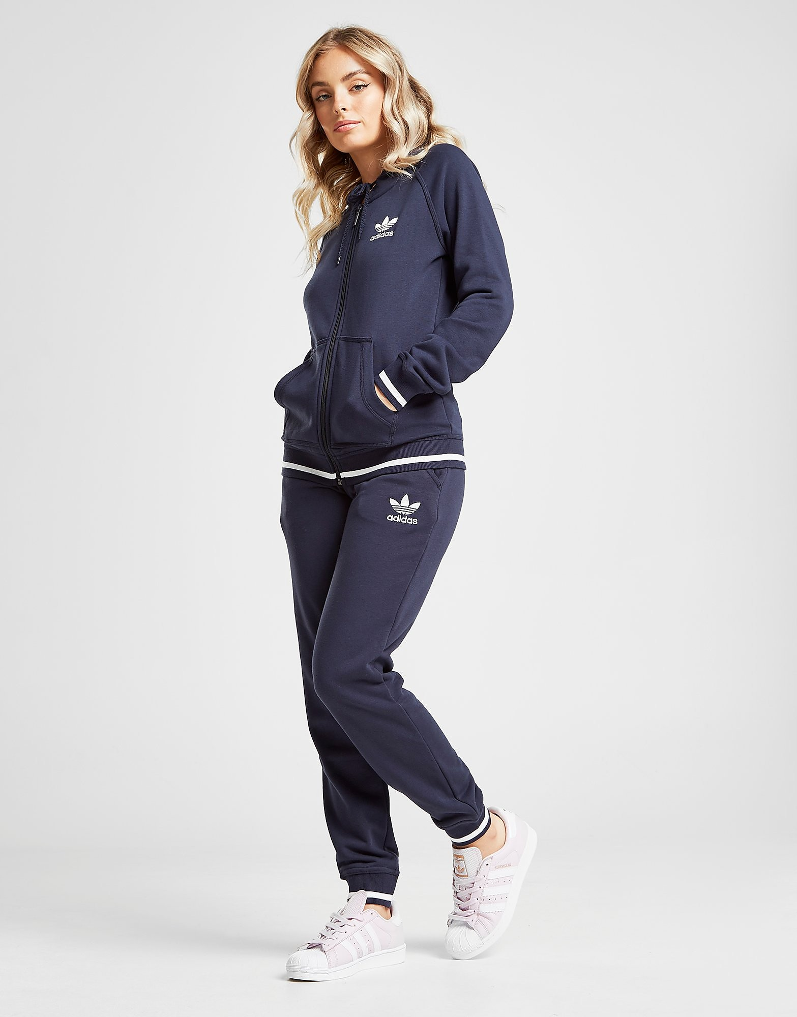 adidas Originals Trefoil Stripe Fleece Track Pants - Only at JD - Blau - Womens, Blau