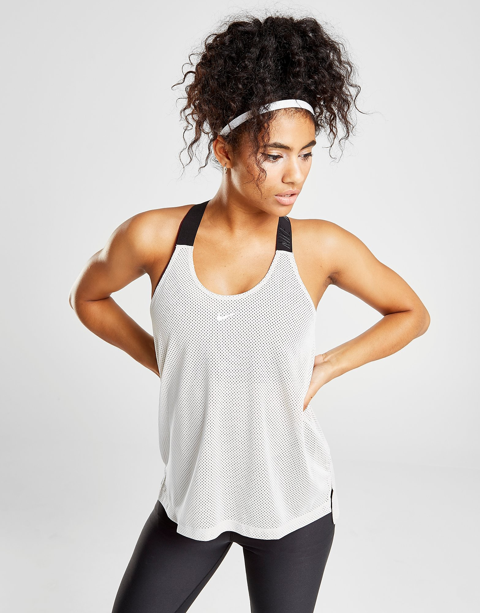 Nike Training Elastika Tank Top Dames - Wit - Dames