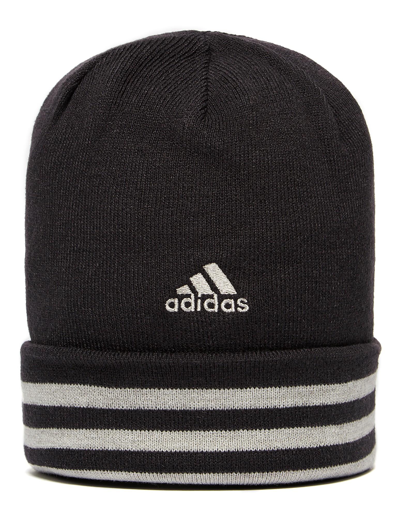 cc6407f3415 coupon adidas essential 3 stripe beanie hat black white mens 5d7ce 692fd