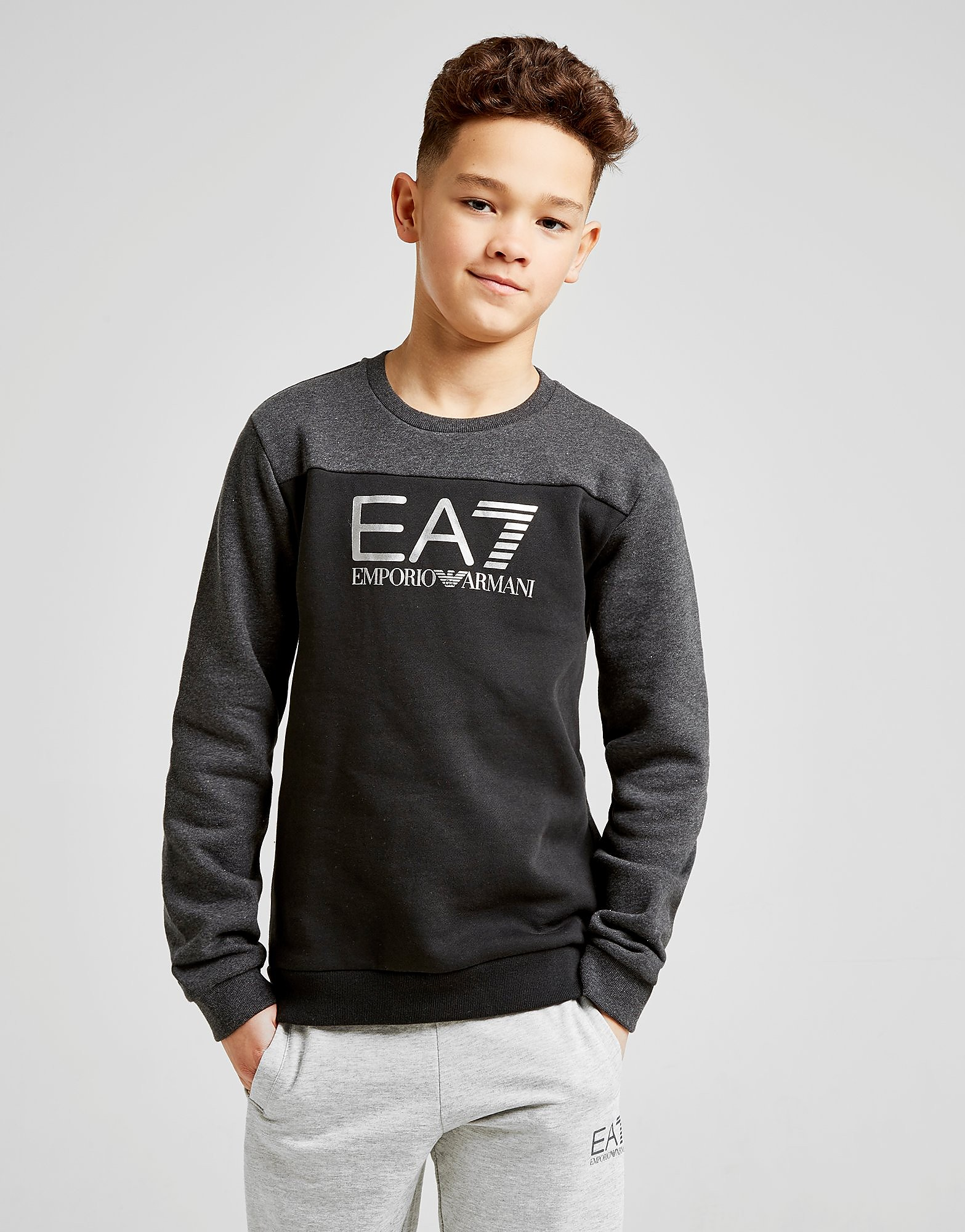 Emporio Armani EA7 Tritional Foil Crew Sweatshirt Junior - Zwart - Kind