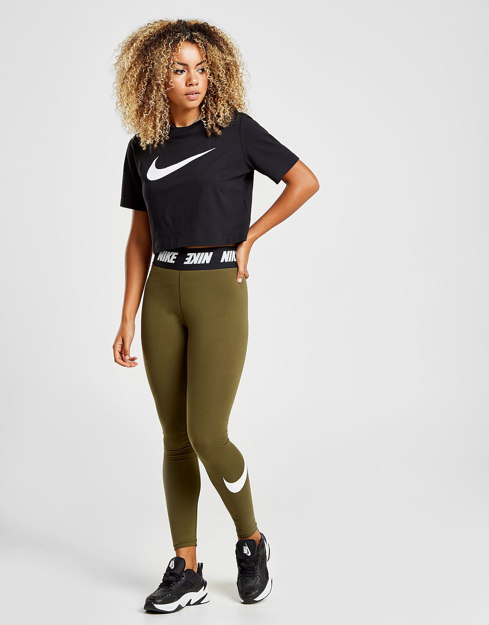 Nike High Waisted Swoosh Leggings Dames - Khaki/White/Black - Dames