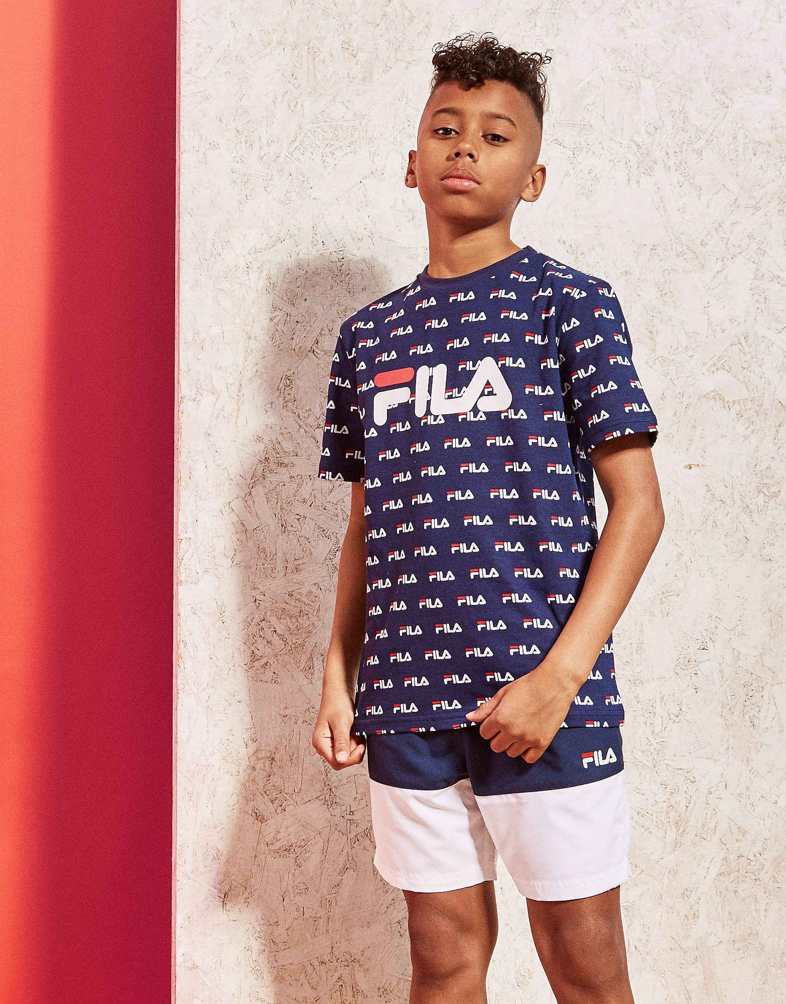 Fila All Over Print T-Shirt Junior - Blauw - Kind