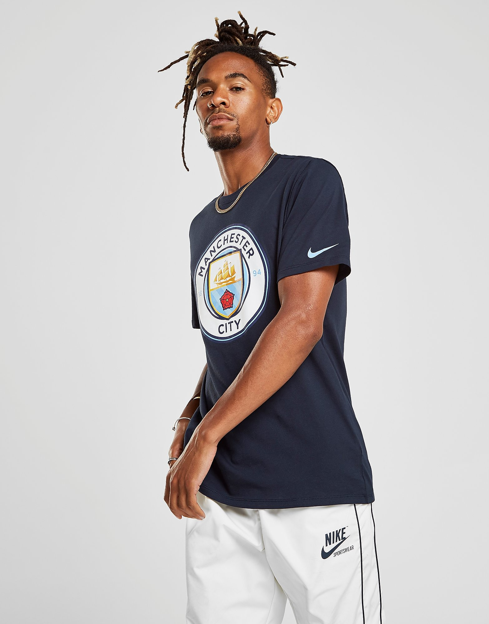 Nike Manchester City FC Crest T-Shirt Heren - Blauw - Heren
