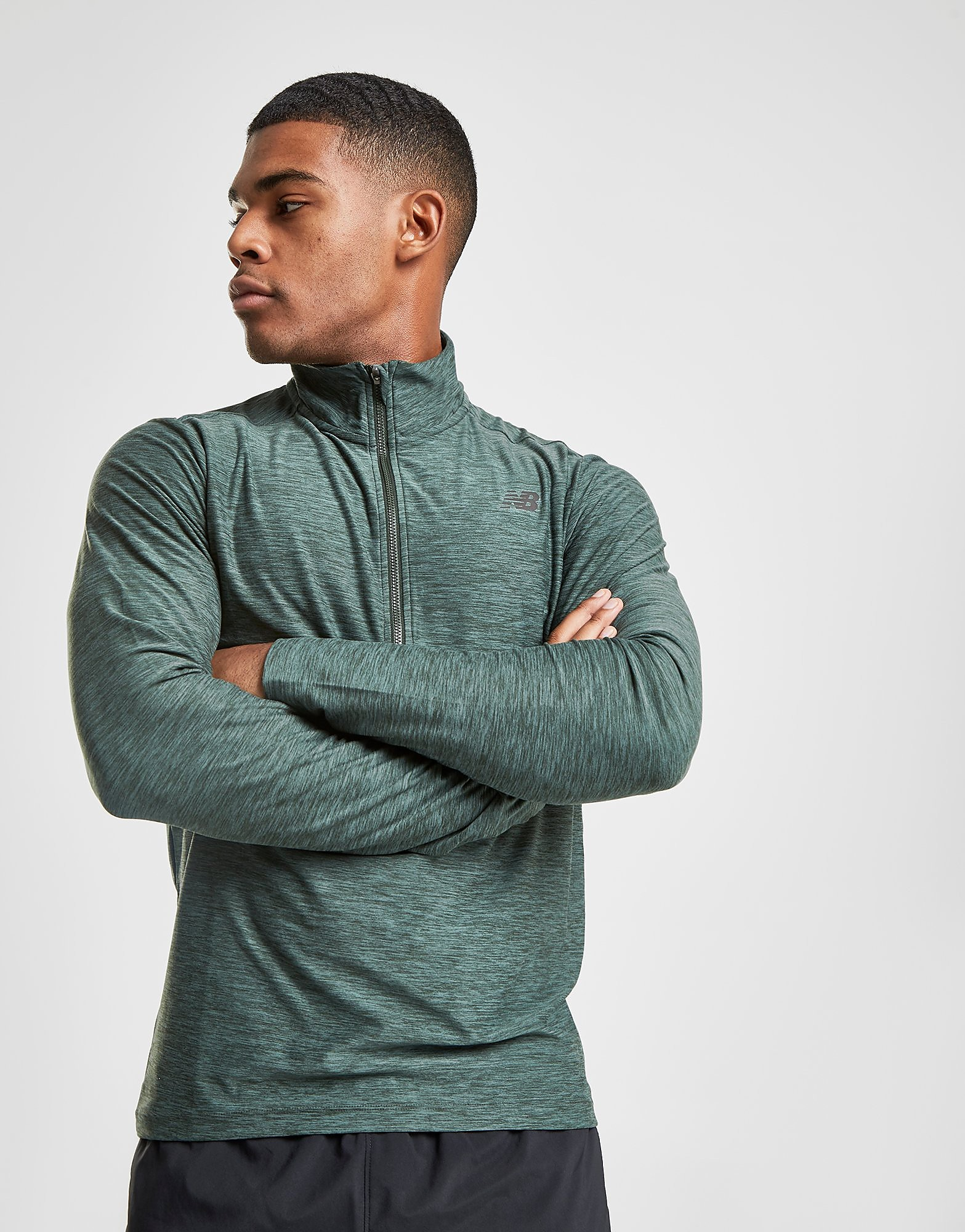 New Balance Core 1/4 Zip Top Heren - Groen - Heren