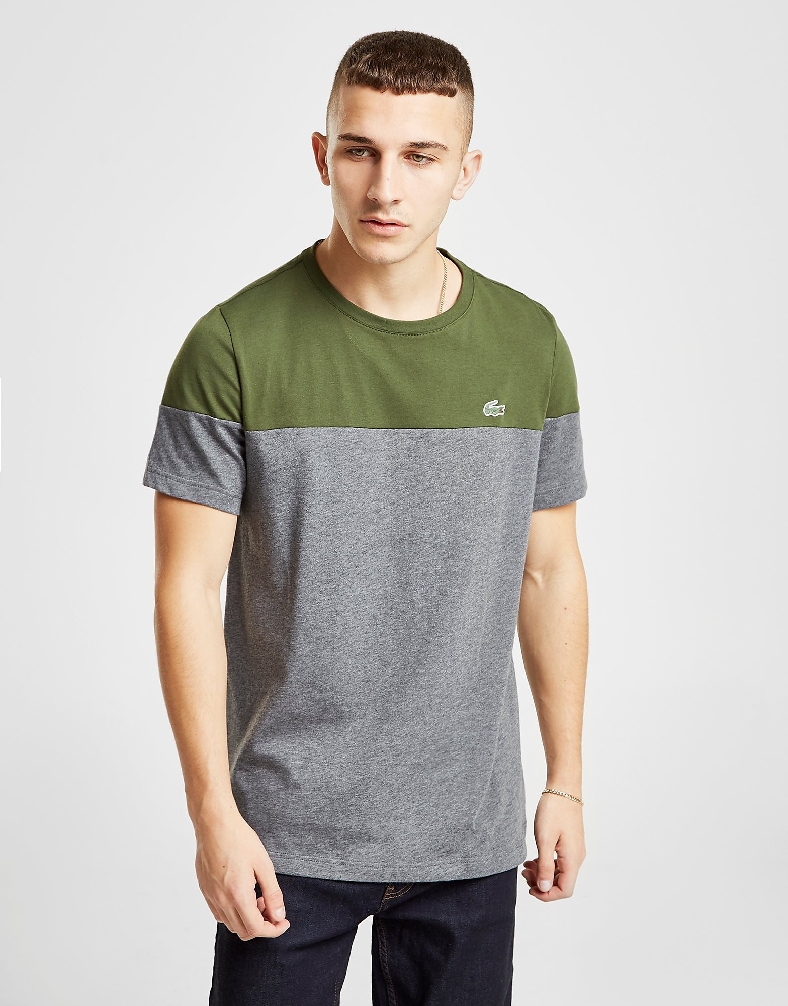Lacoste Colour Block T-Shirt Heren - alleen bij JD - Khaki/Grey - Heren