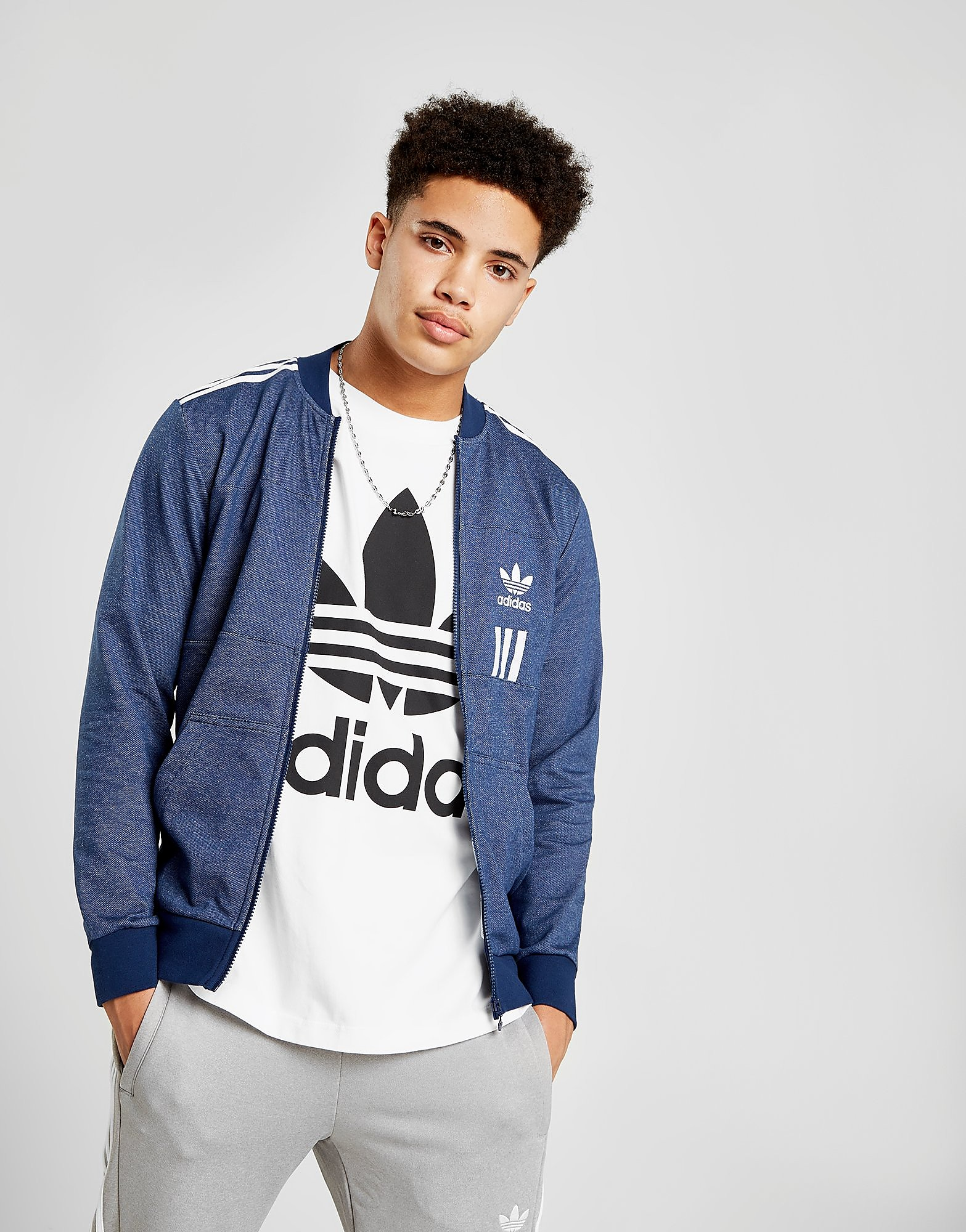 adidas Originals ID96 Denim Track Top Heren - alleen bij JD - Indigo/White - Heren