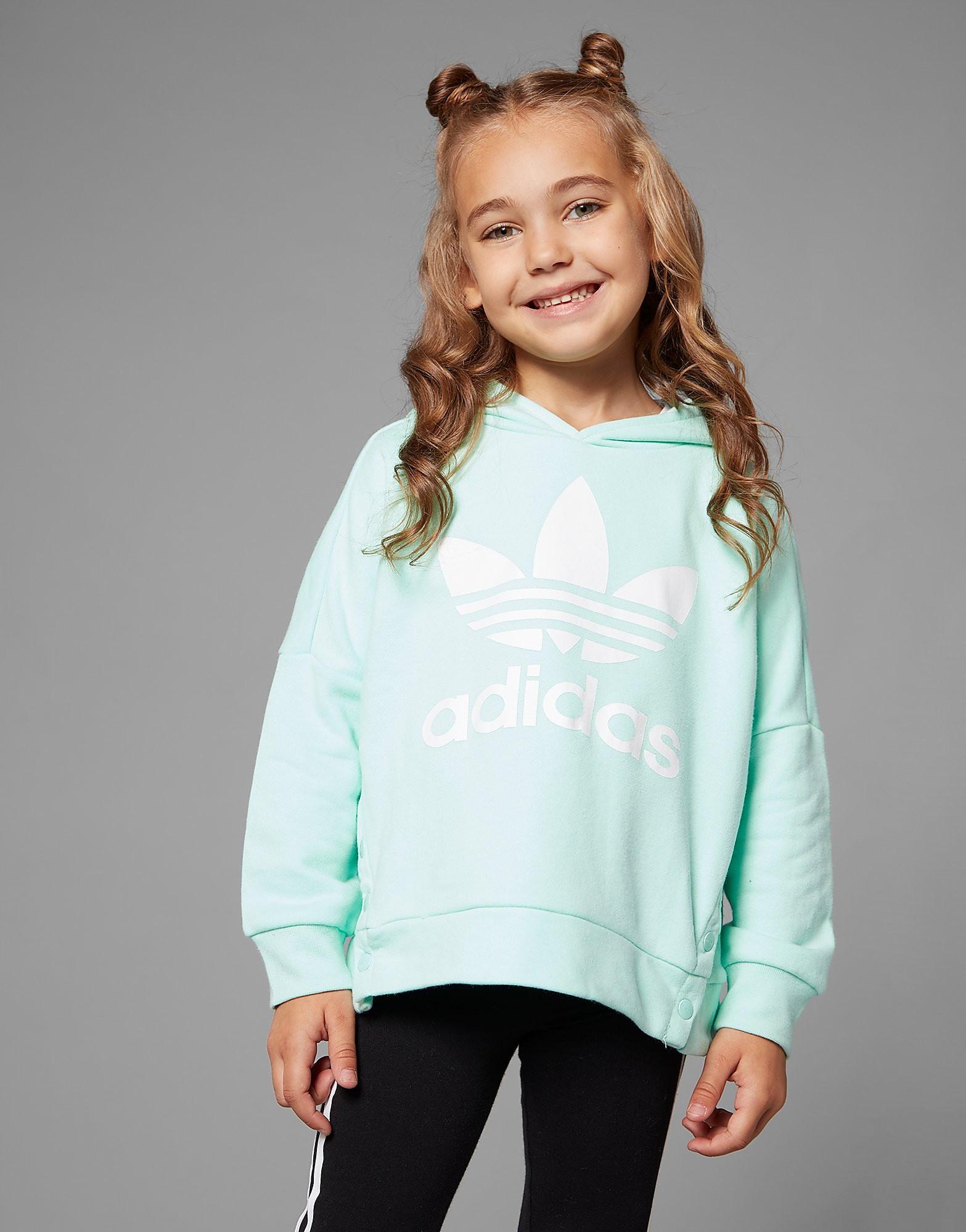adidas Girls' Trefoil Snap Hoodie Children - Blauw - Kind