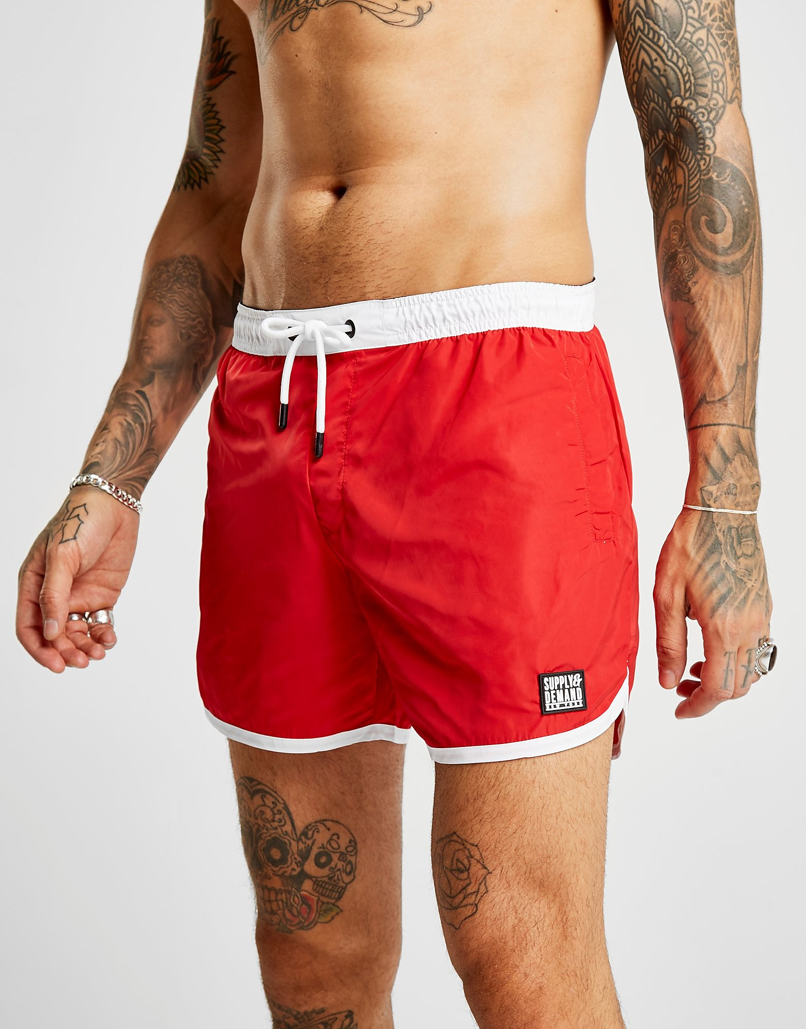 Supply & Demand Track Swim Shorts - Only at JD, Red